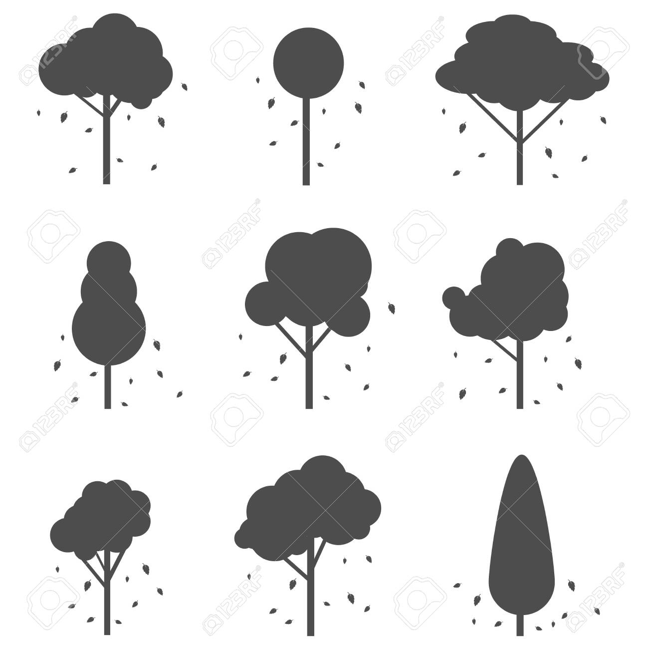 Silhouettes of trees with leaves. Silhouettes of trees with fallen leaves isolated on a white background. Vector illustration. Vector. - 151123629