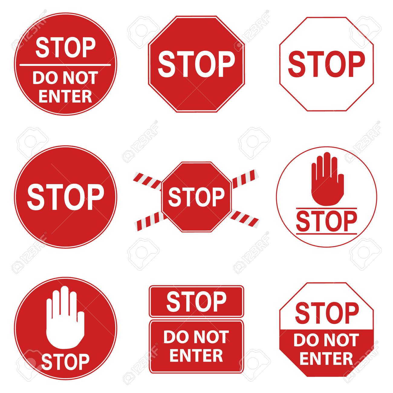 Stop sign, set of red prohibiting stop signs. Vector illustration. Vector. - 162890898