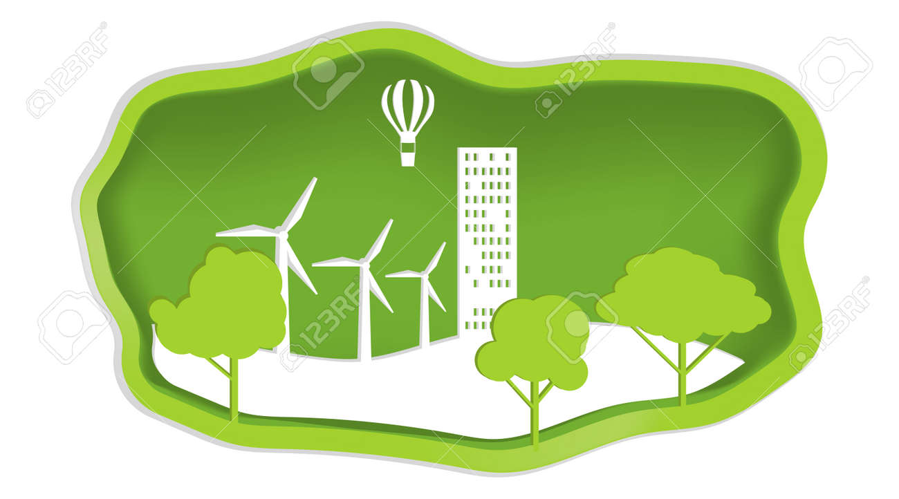 Nature and ecology, ecology conservation concept in paper design style. Vector illustration. Vector. - 162890899