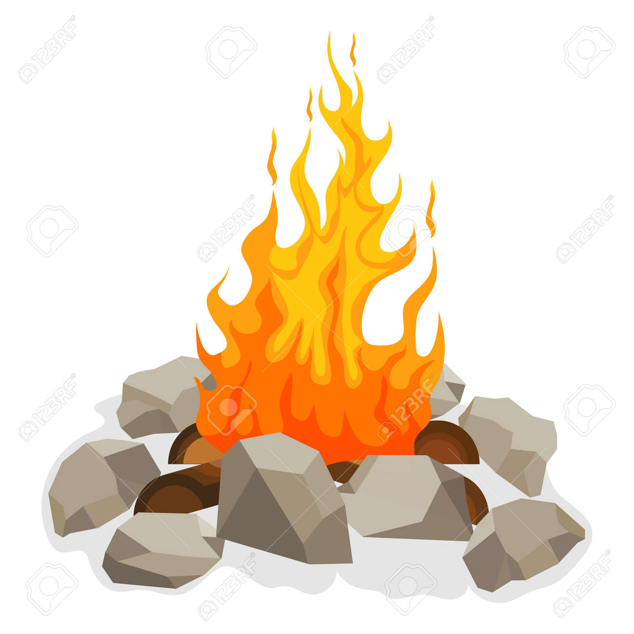 Bonfire, bonfire icon with fire, wood and stones around it. Vector illustration. Vector. - 162890901
