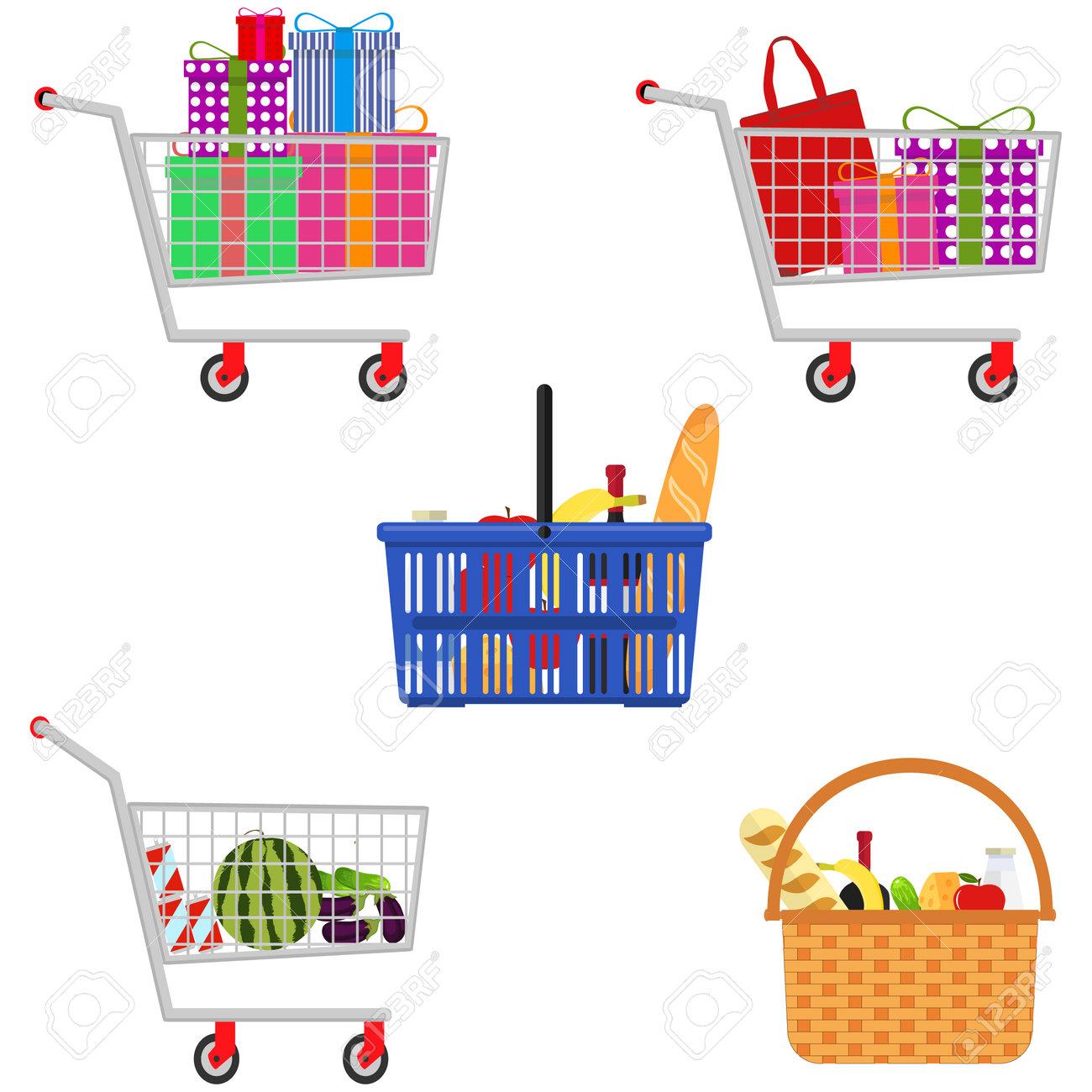 Shopping basket, shopping trolley, shopping bag set. Vector illustration Vector - 162890902