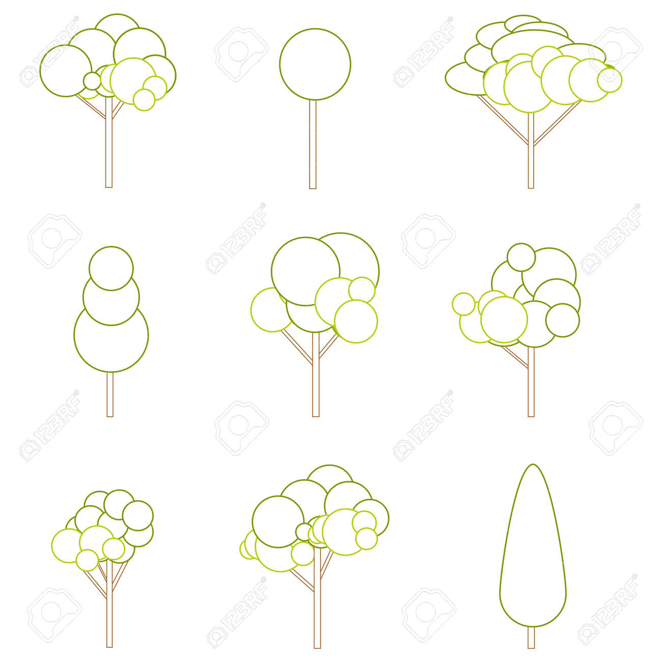 Tree sign, tree silhouettes icons set. Vector illustration. Vector. - 162890909