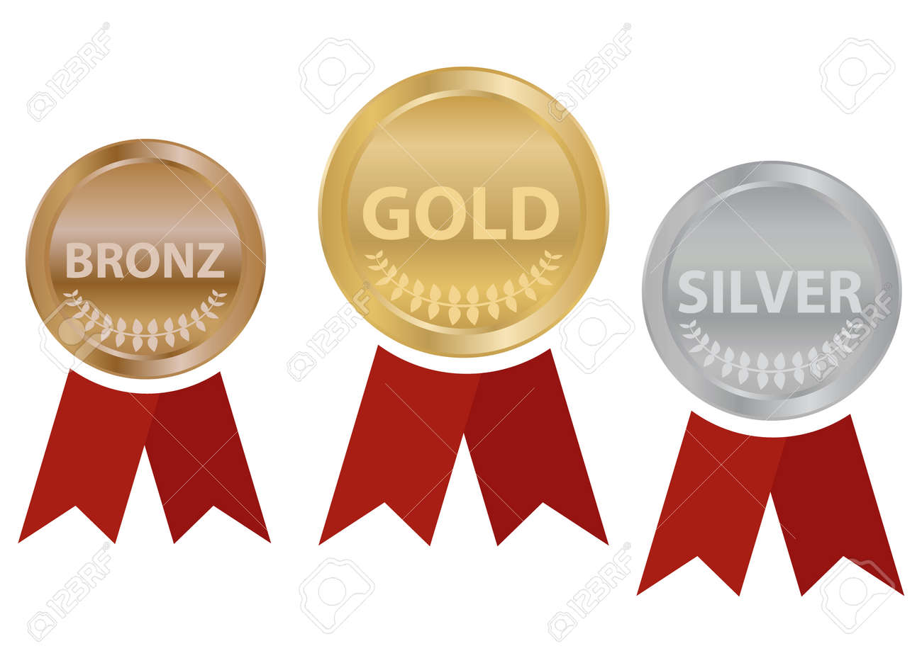 Sports medals with ribbons, gold, silver and bronze sports medal. Vector illustration. Vector. - 162890928