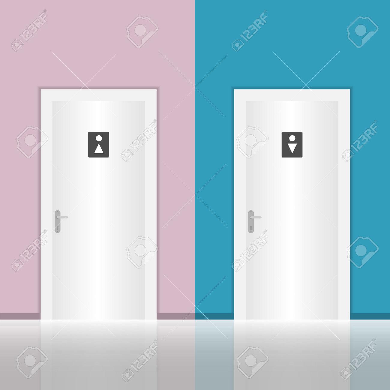 Toilet door, door to men's and women's restrooms against the background of the wall. Vector illustration. Vector. - 162890950