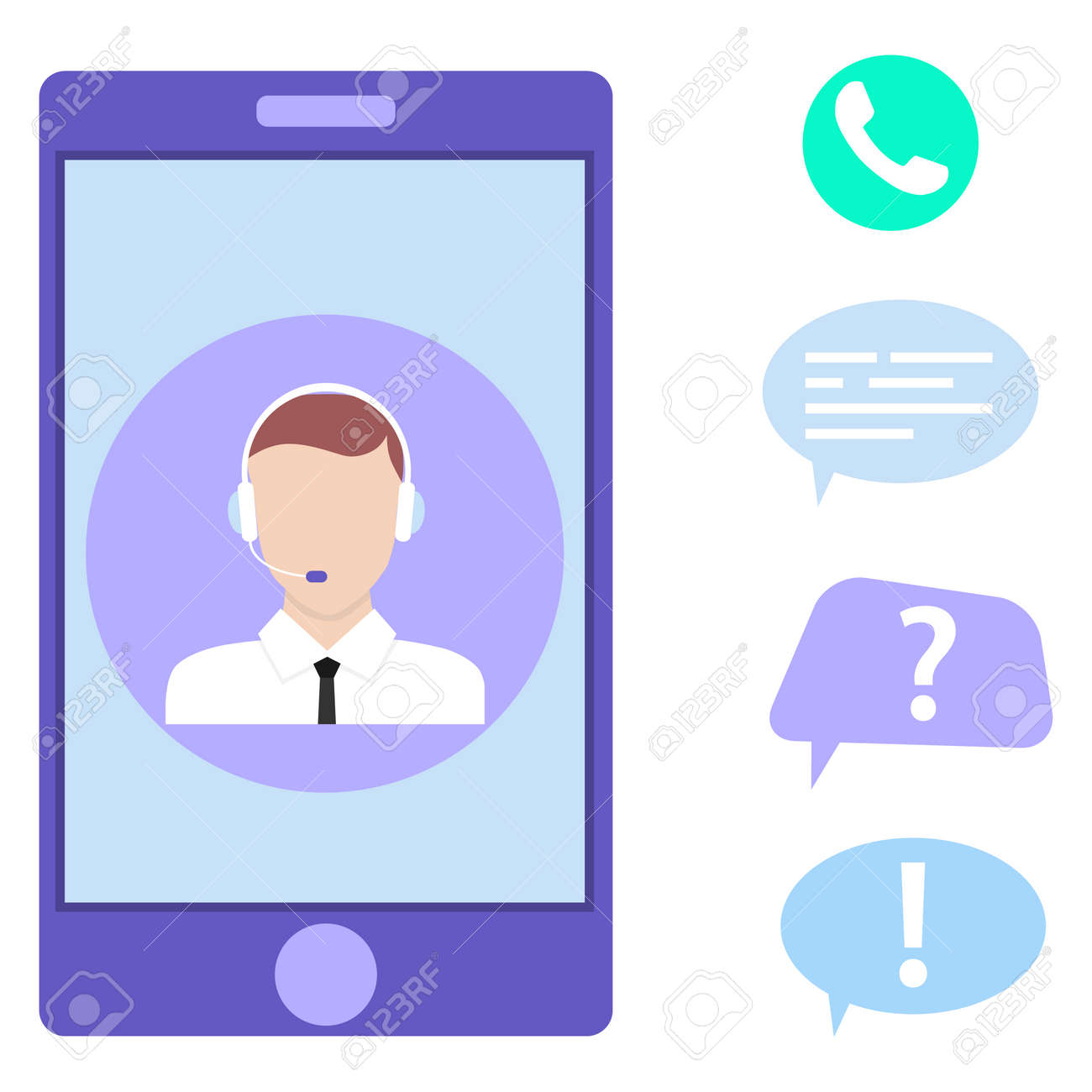 Call center, customer support on a smartphone. Vector illustration. Vector. - 162890955