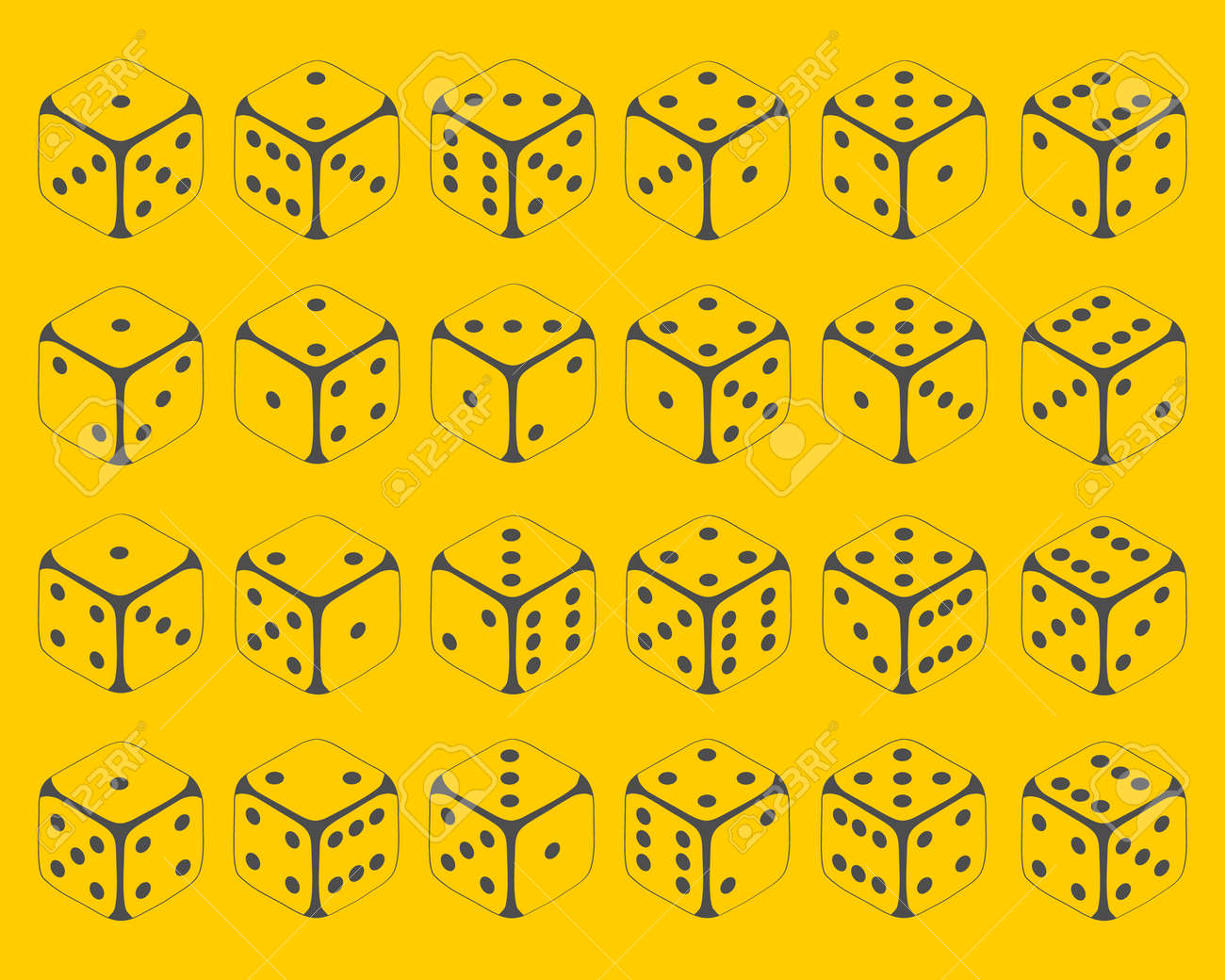 Dice. Set of dice icons on a yellow background in isometric illustration. Vector illustration. Vector. - 162890970