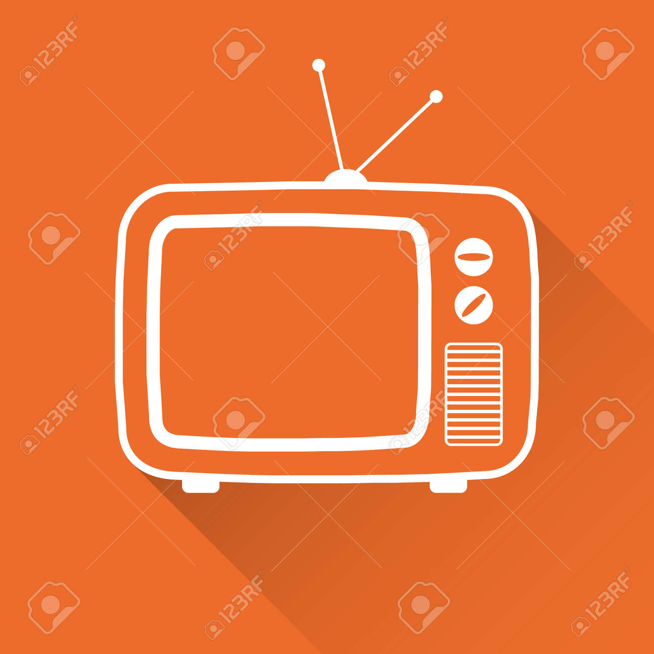 Retro TV, white old TV icon on a red background. Vector illustration. Vector. - 162890973