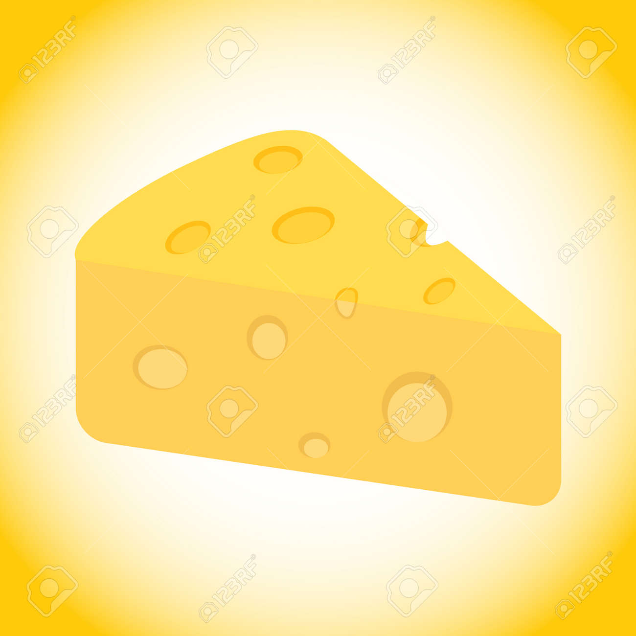 Cheese, a piece of cheese in isometric view on a white background. Vector illustration. Vector. - 162890979