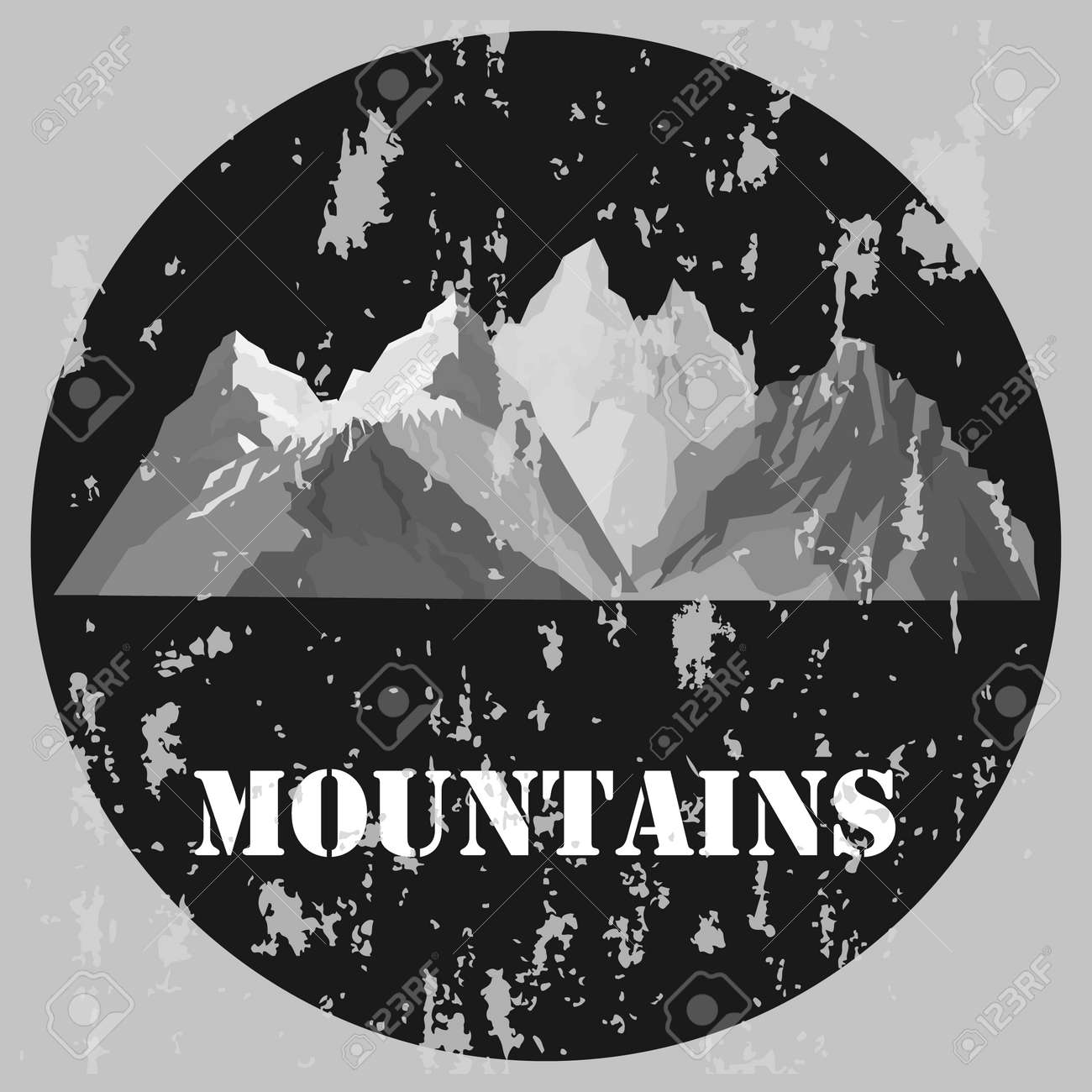 Vintage mountain banner. Banner in gray tones with mountains. Vector illustration. Vector. - 167578747
