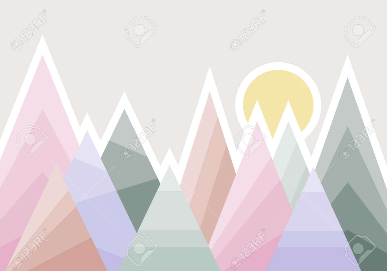 Abstract mountain landscape mural for a child's room. Vector illustration. Vector. - 167578759