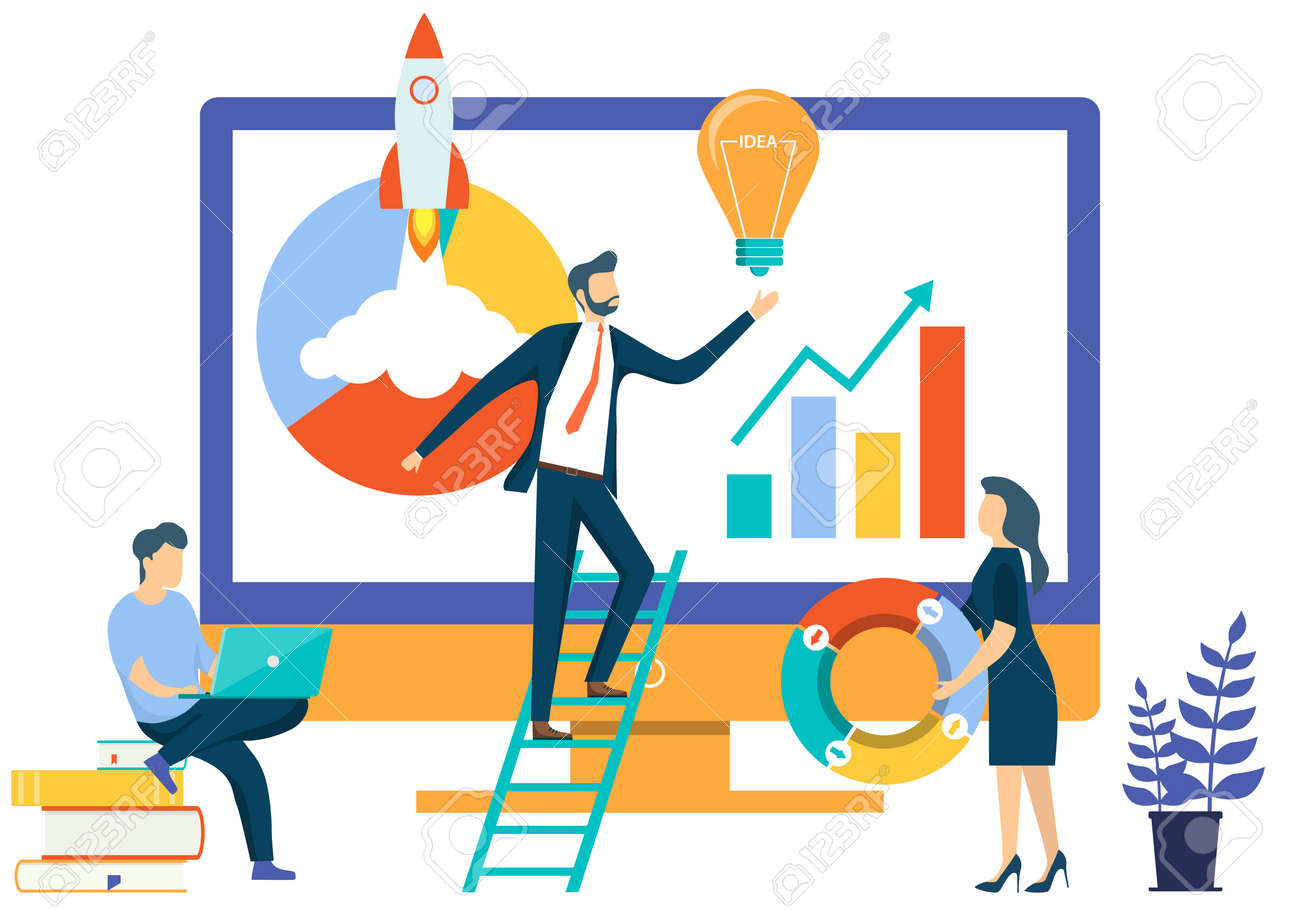 People work with information on computers and implement new ideas and startups. Diagram, graphs, new ideas and startups concept. Vector illustration. Vector. - 167578761