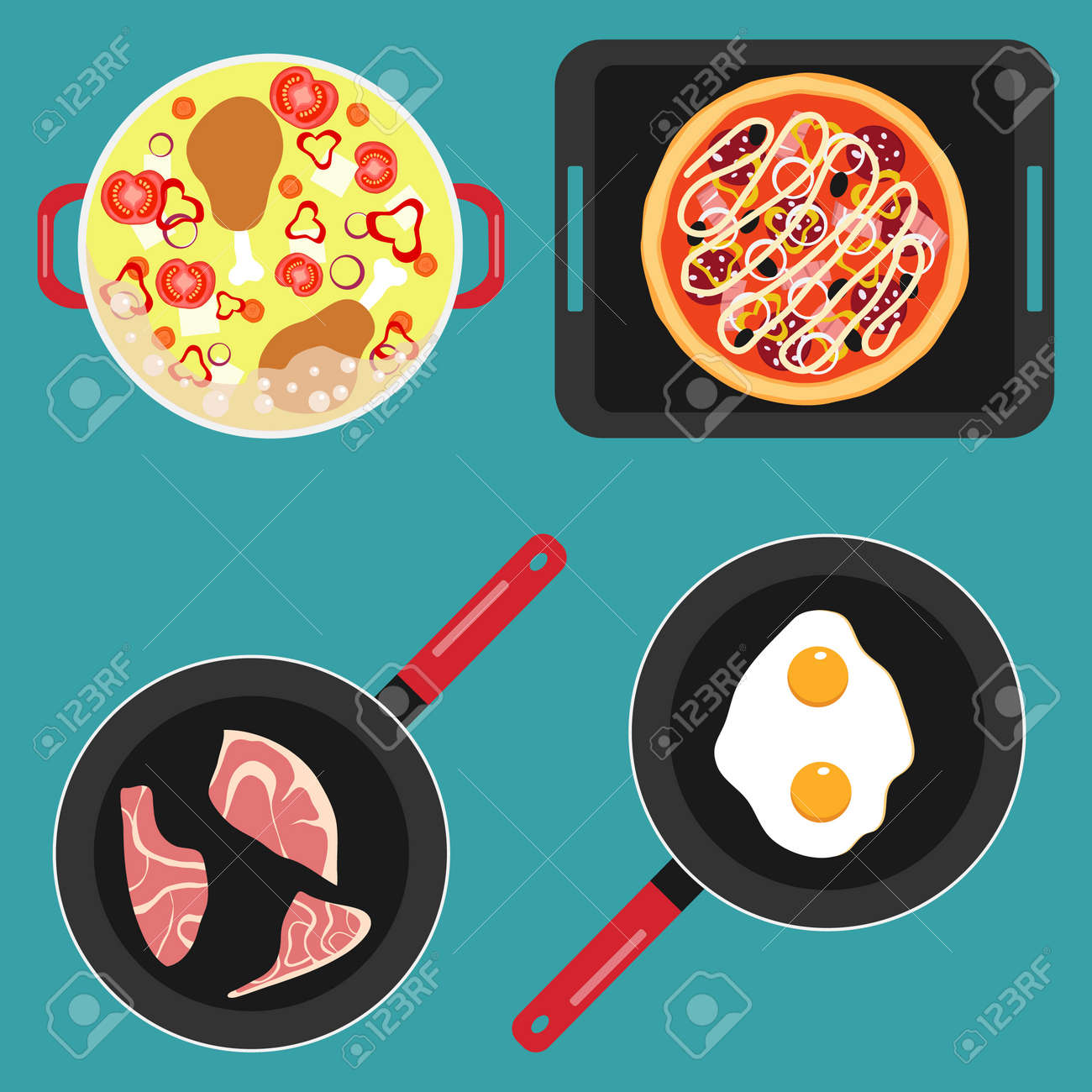 Cooking food, pots and pans with cooked food, soup, fried meat, scrambled eggs. Vector illustration. Vector. - 167578772