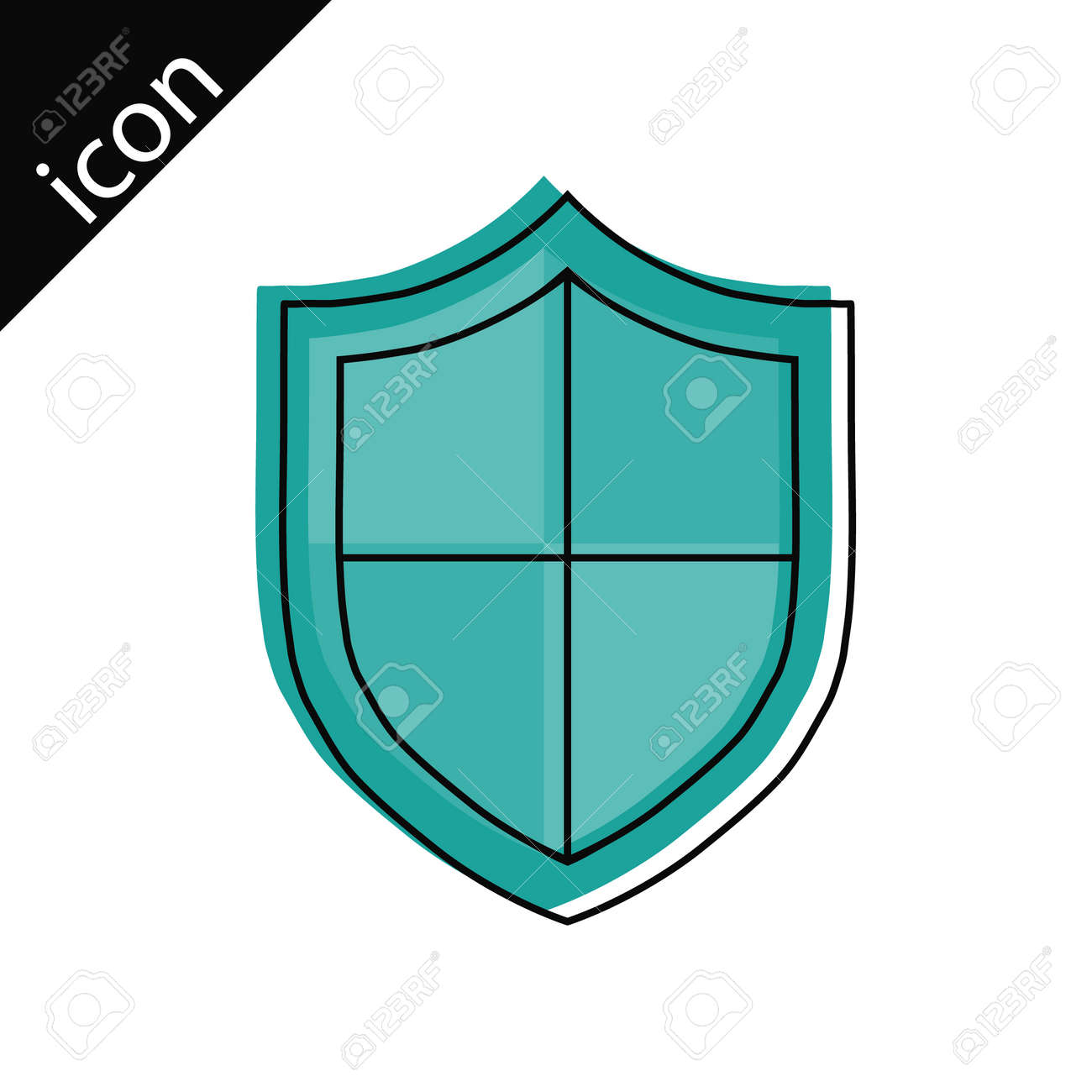 Shield lines. Protection shield icon with border lines. Vector illustration. Vector. - 167578782