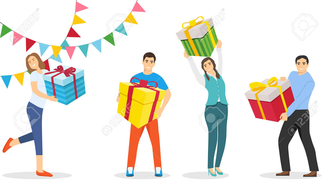 People are holding New Year's gifts in their hands. People with gifts in their hands. Vector illustration. Vector. - 167578911