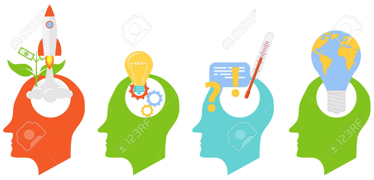 Ideas arising in the human brain. Human head with various ideas, startups and technologies. Vector illustration. Vector. - 167579090