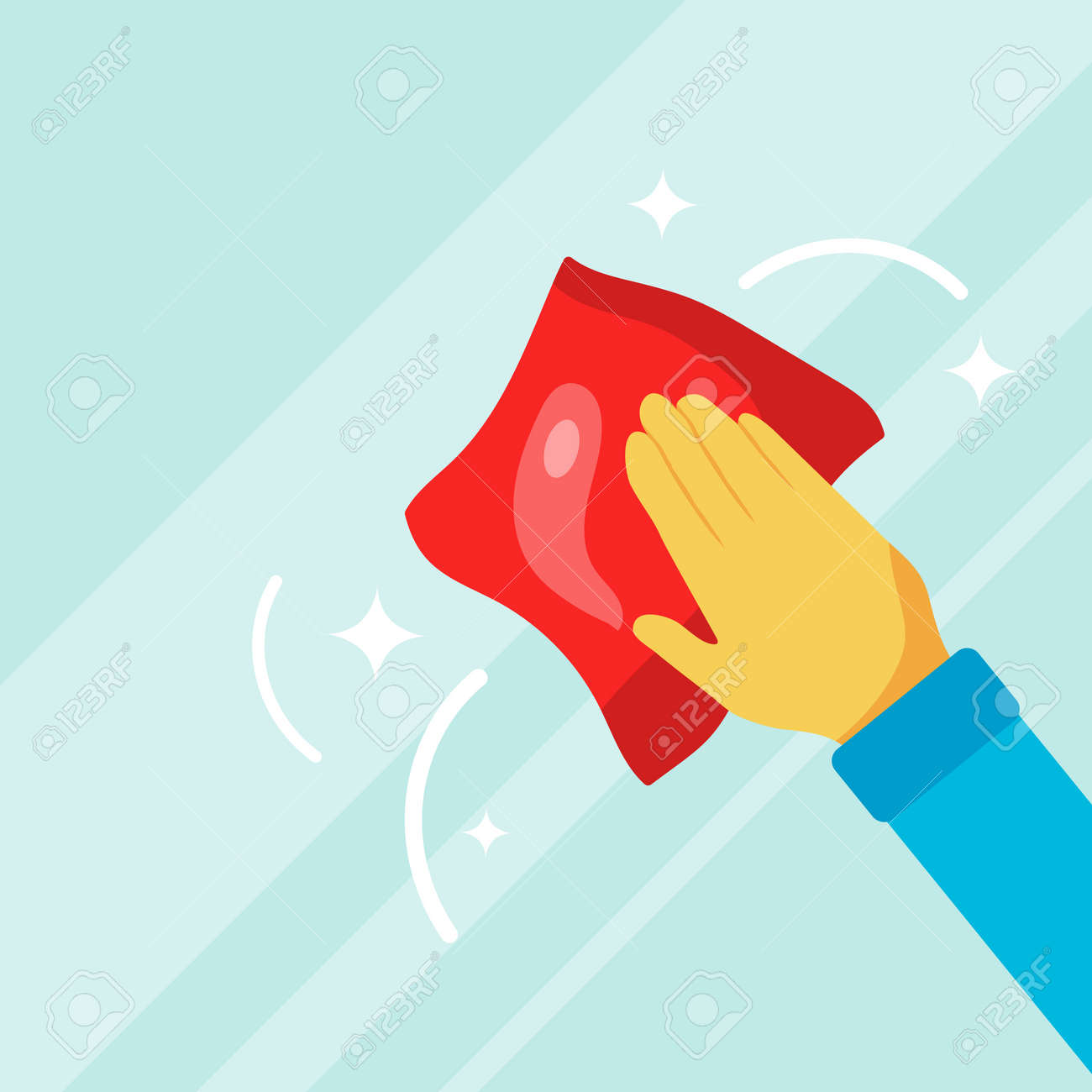A hand with a rag washes the glass. Wipe down the glass. Vector illustration. Vector. - 167579103