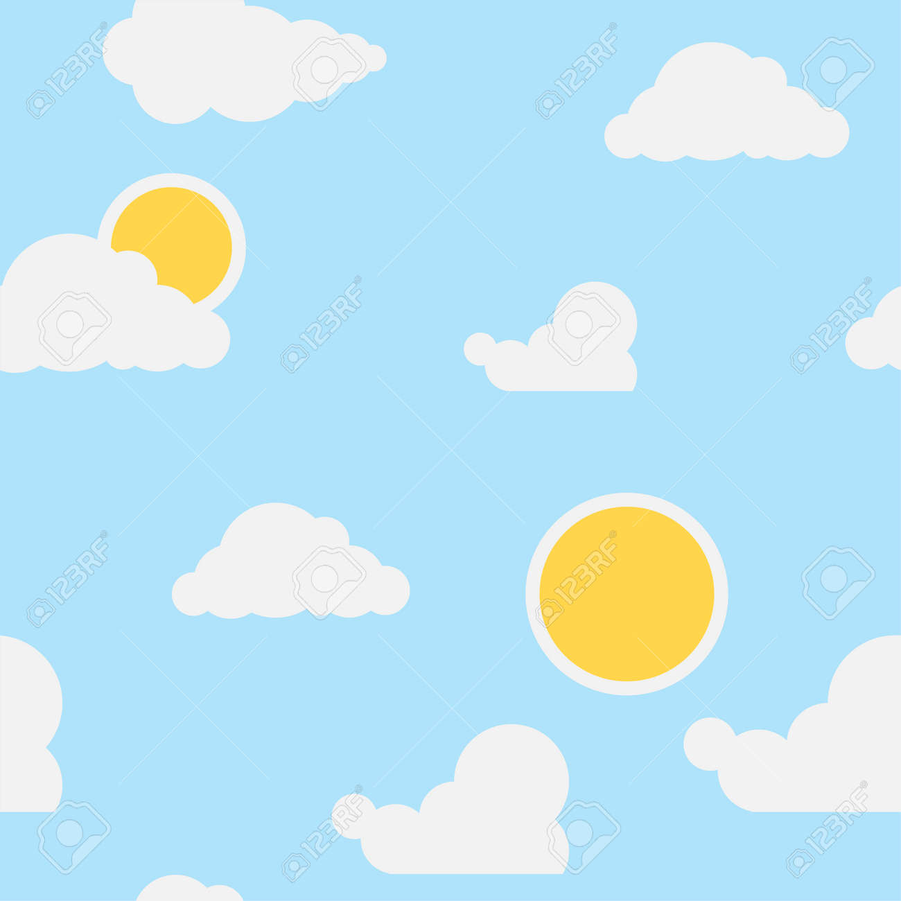 Wallpaper for a children's room clouds and sun on a blue background. Seamless wallpaper for the nursery. Vector cartoon illustration. Vector. - 167579134