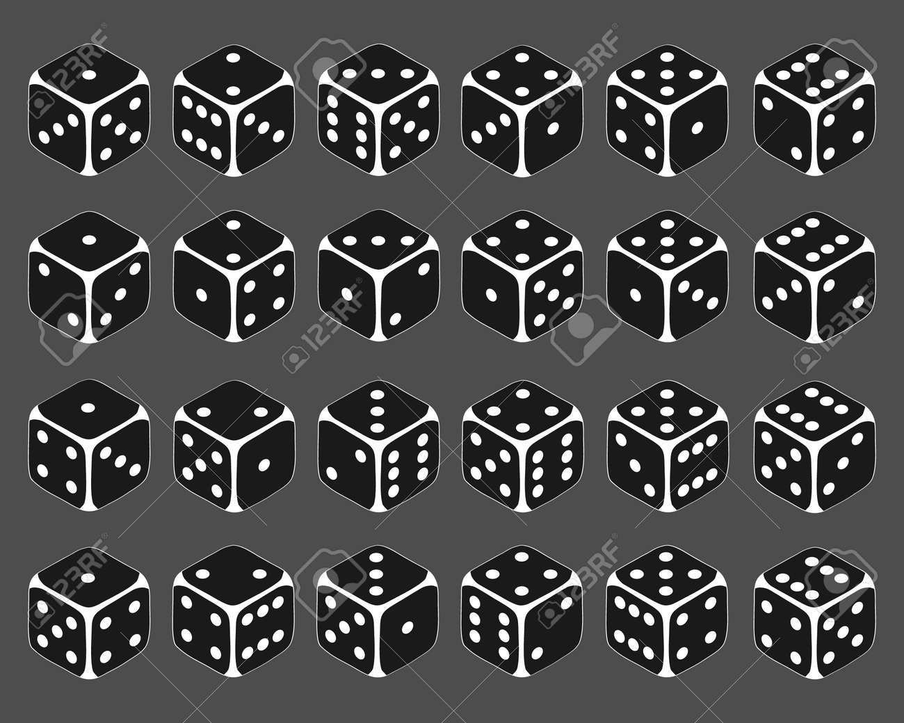 Dice, large set of dice in isometric view. Vector cartoon illustration. Vector. - 167579135