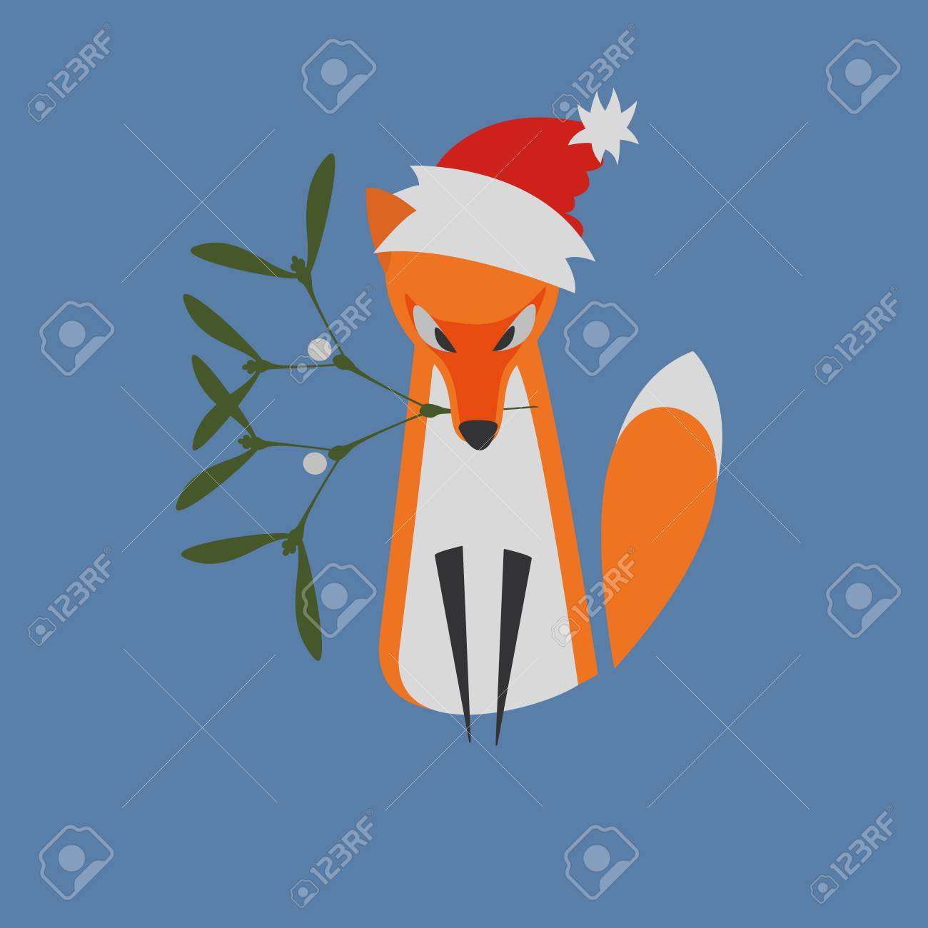 Illustrated He Fox Sitting With Mistletoe Branch As A Symbol