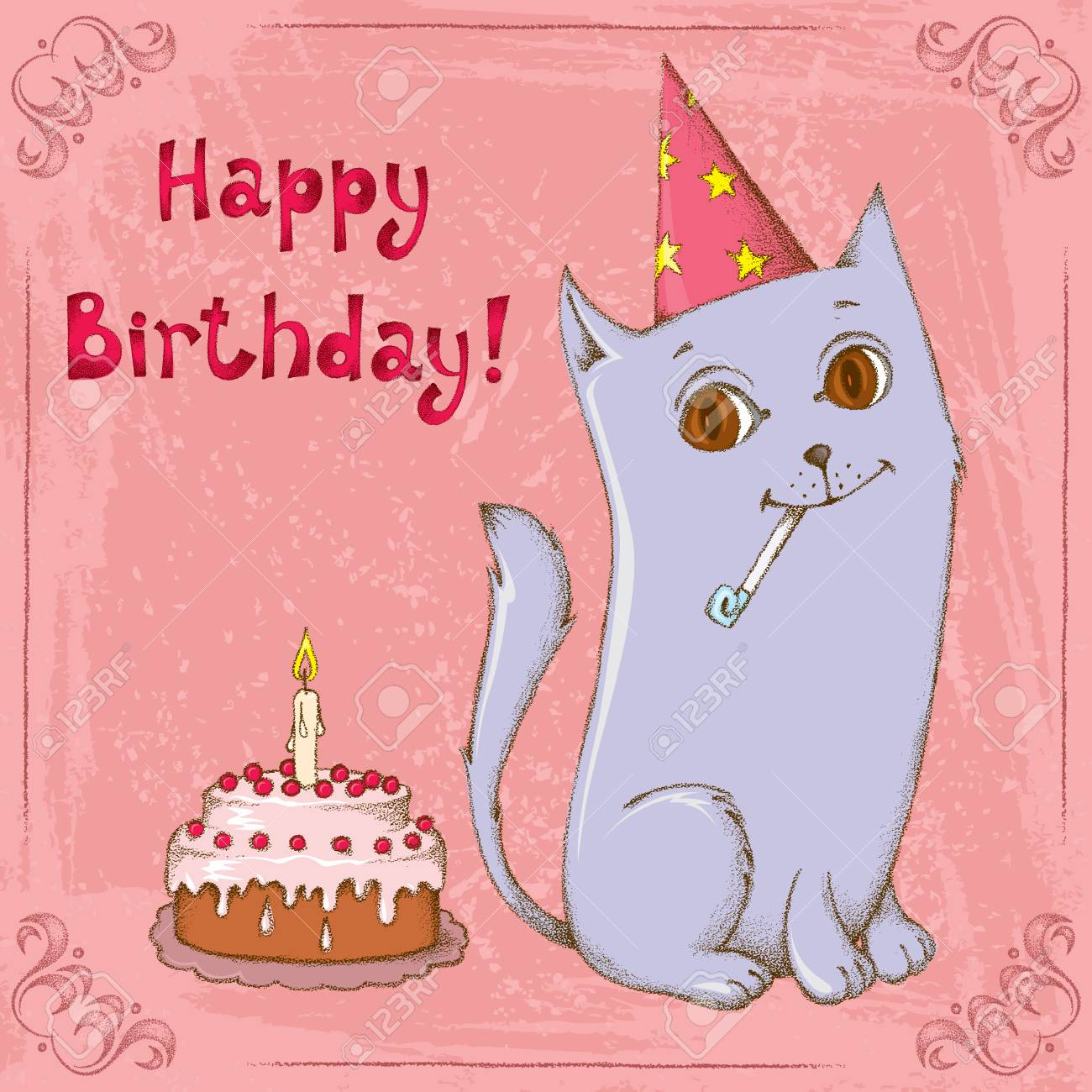 Strange Cute Happy Cat Wearing A Paper Hat With A Birthday Cake Royalty Personalised Birthday Cards Paralily Jamesorg