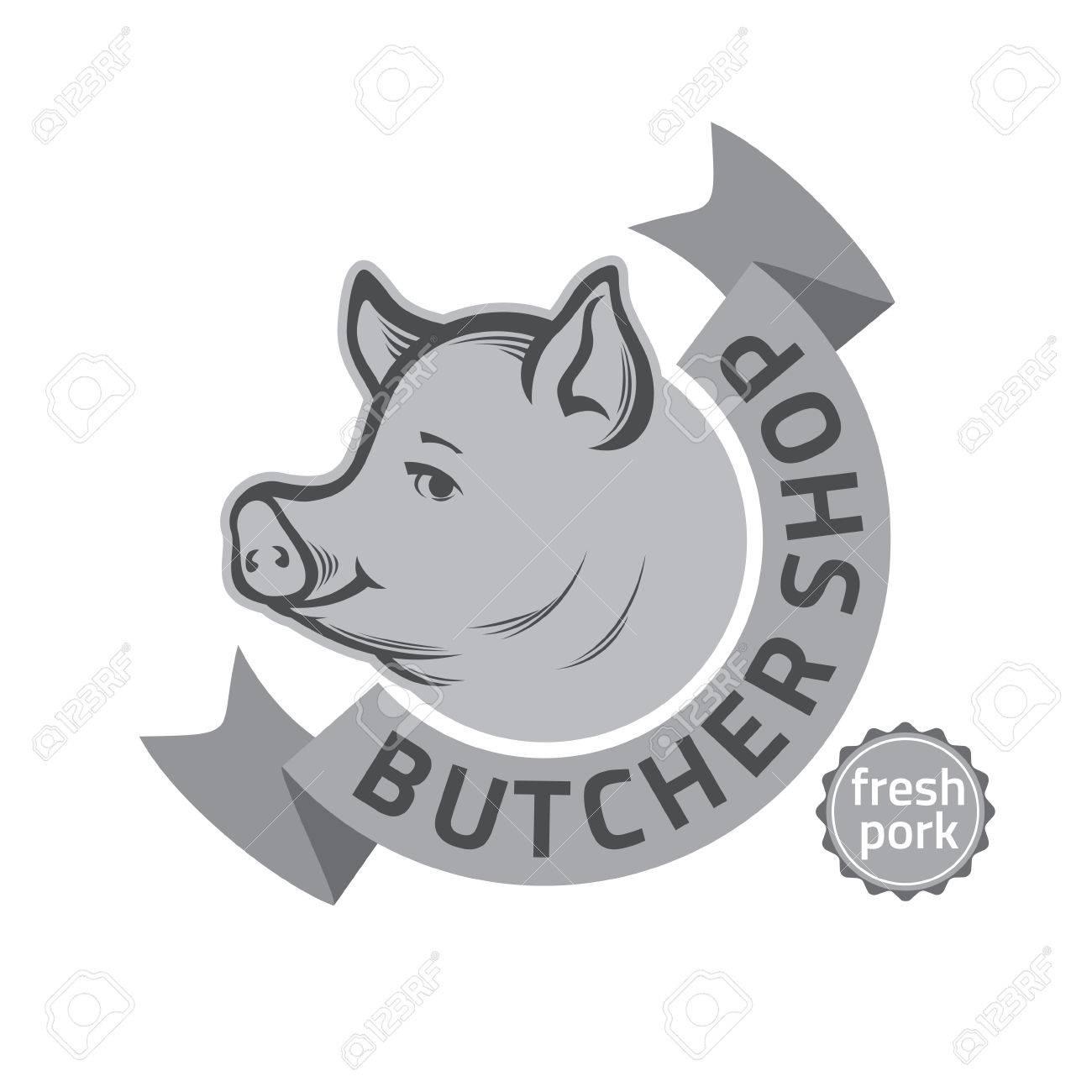 Vintage Retro Badge, Label Or Design Templates For Butcher Shop ...