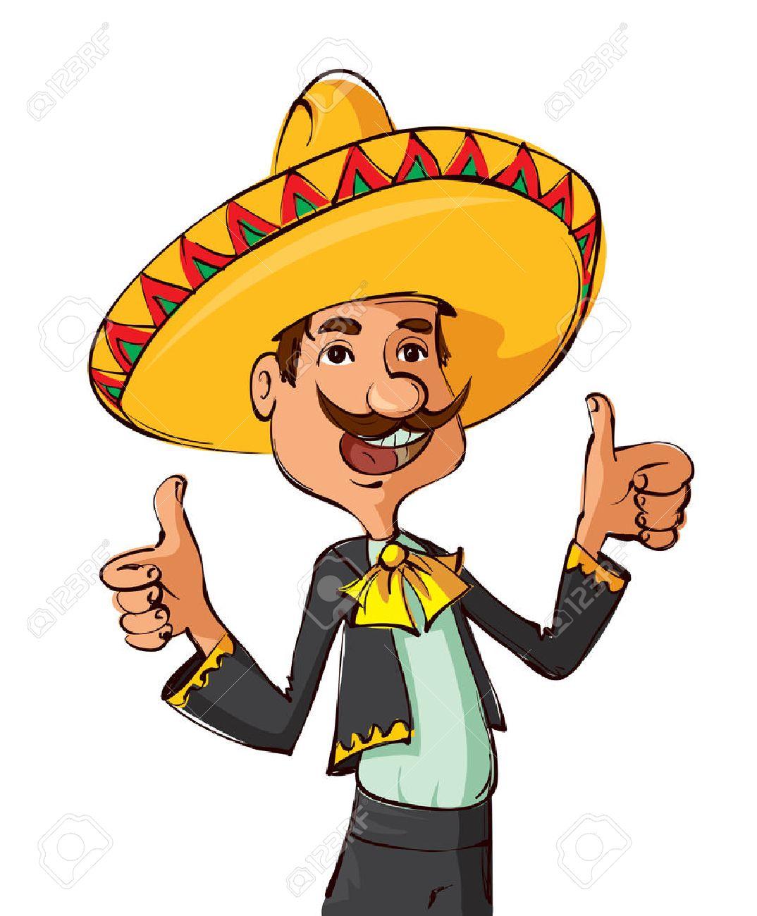 Hombre mexicano divertido con el sombrero y el bigote que muestra los pulgares para arriba Foto de archivo - 42065199