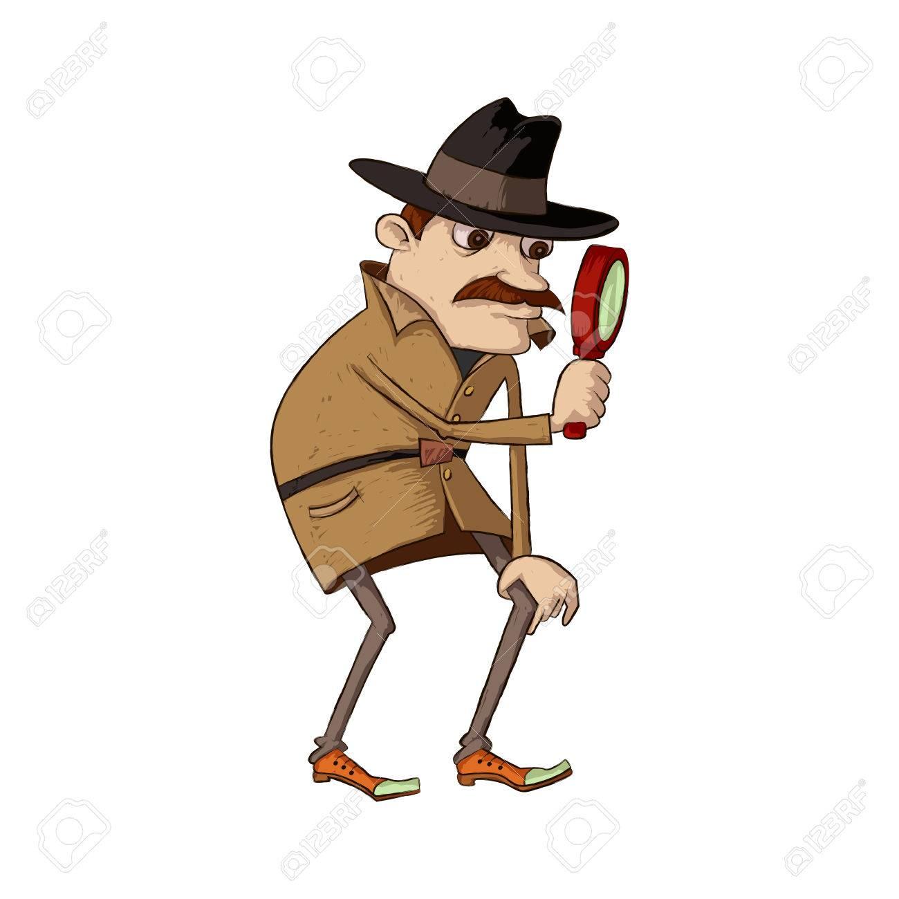 虫眼鏡を通して見る口ひげを持つ探偵のイラスト ロイヤリティフリー
