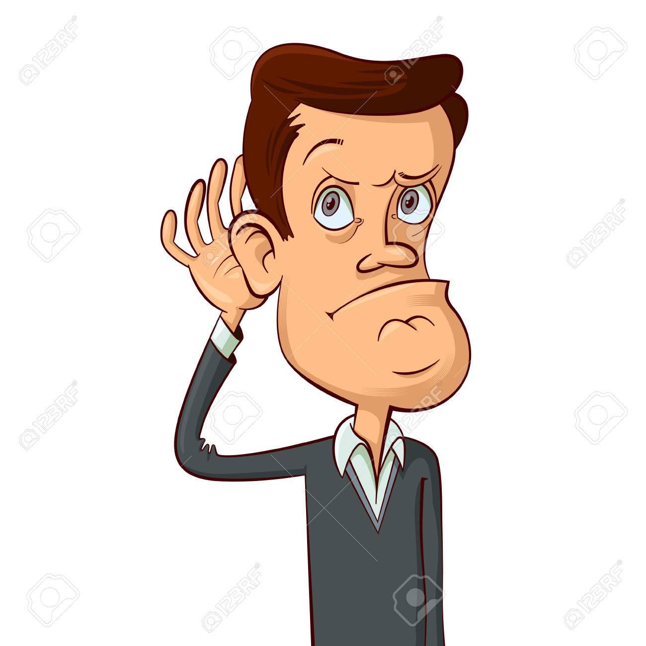 man holds his hand near ear, cartoon illustration ロイヤリティ