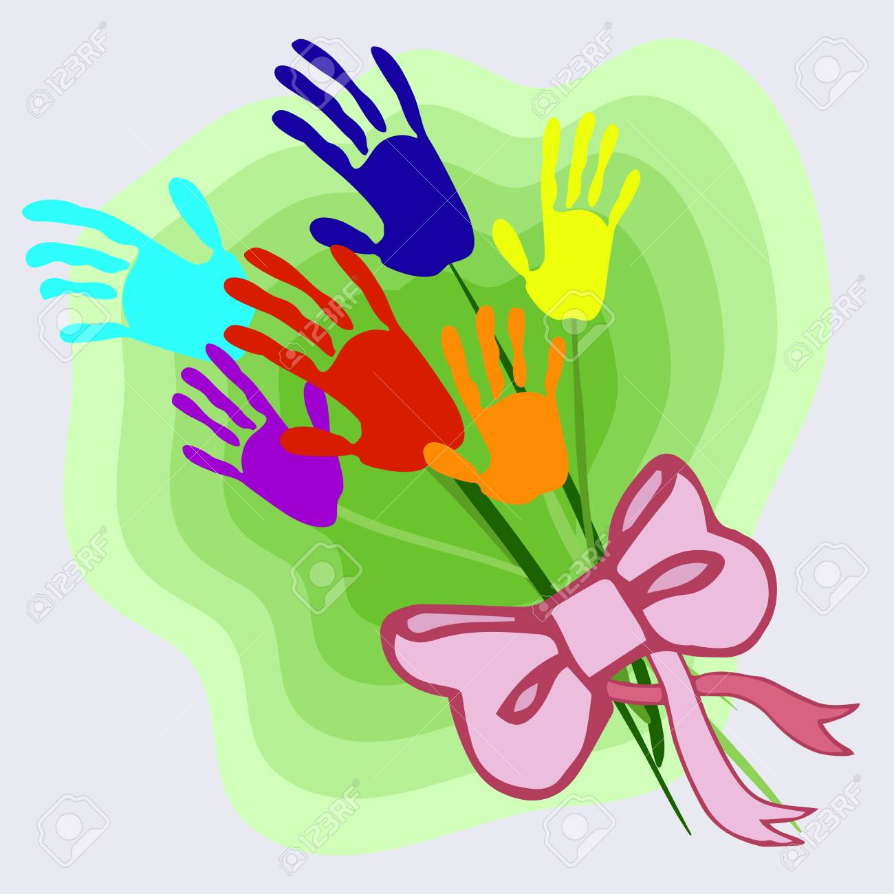 Bouquet Of Stylized Multicolored Flowers In The Form Of Children\'s ...
