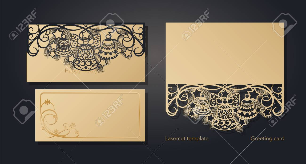 Christmas greeting card design for laser cutting. New Year's and Christmas. Openwork pattern for envelopes, postcards, invitations to New Year events. Cutting out of paper, cardboard, plastic. Vector illustration - 113411360