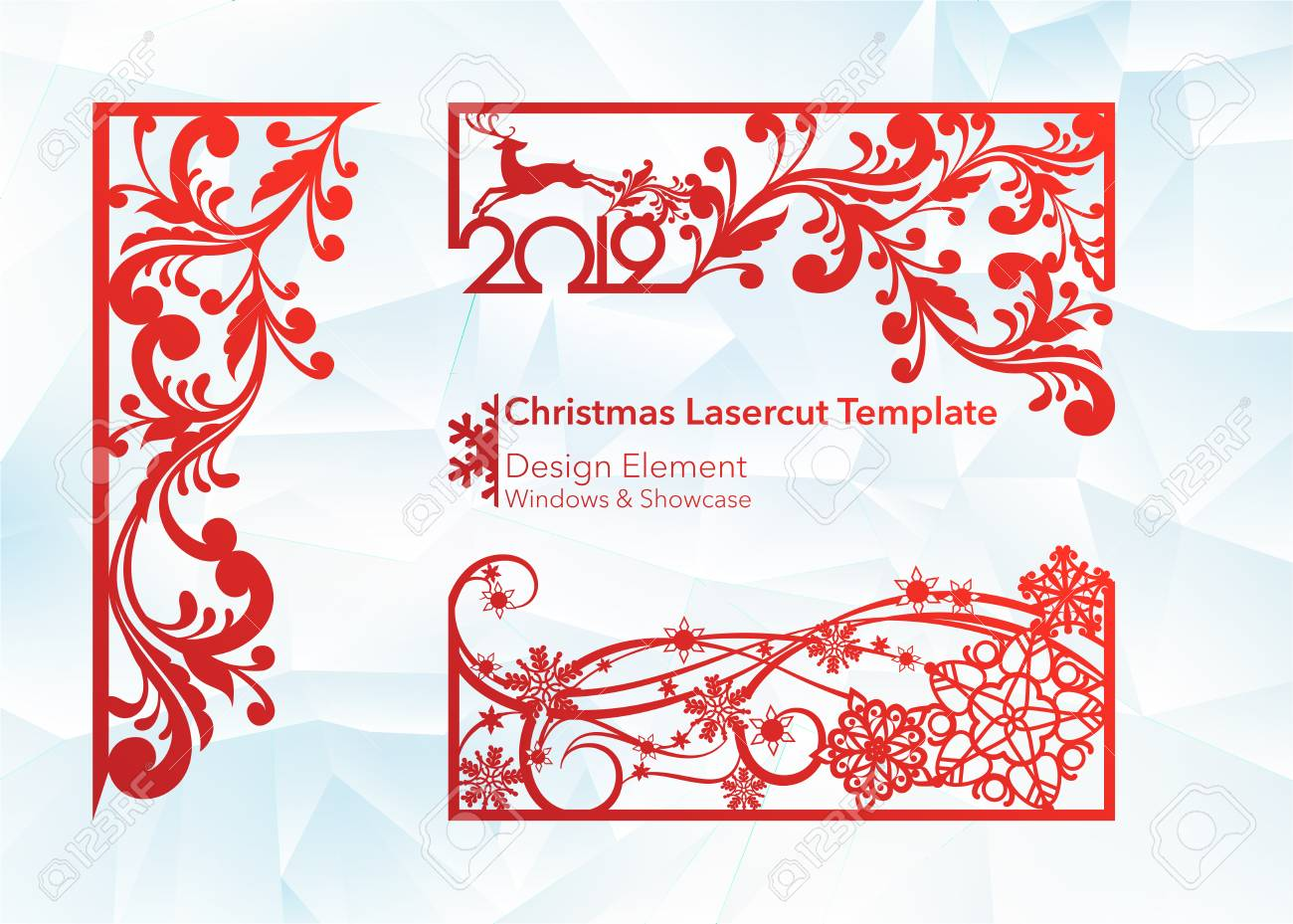 Laser cutting design for Christmas and New Year. Silhouette cut. A set of template of corner and horizontal elements to create a festive decor. Patterns for decorating a rectangular frame and border, windows, shop windows. Vector illustration - 113920368