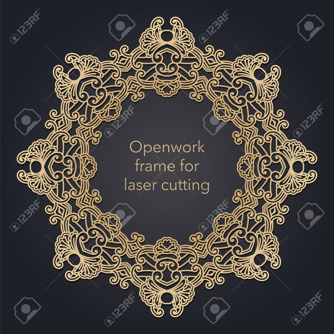 Round openwork frame for laser cutting. Mandala for interior decoration, pages, covers. Decorative ethnic ornament. Vector - 125828369