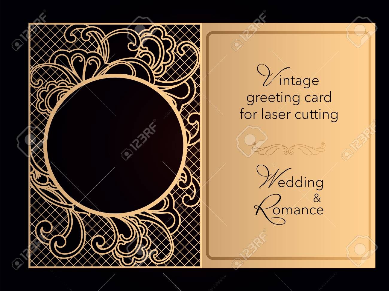 Laser Cutting Openwork Template Wedding Invitation Greeting Card Cover For A Romantic Menu In A Restaurant Delicate Pattern With Curlicues Vector Royalty Free Cliparts Vectors And Stock Illustration Image 118118653