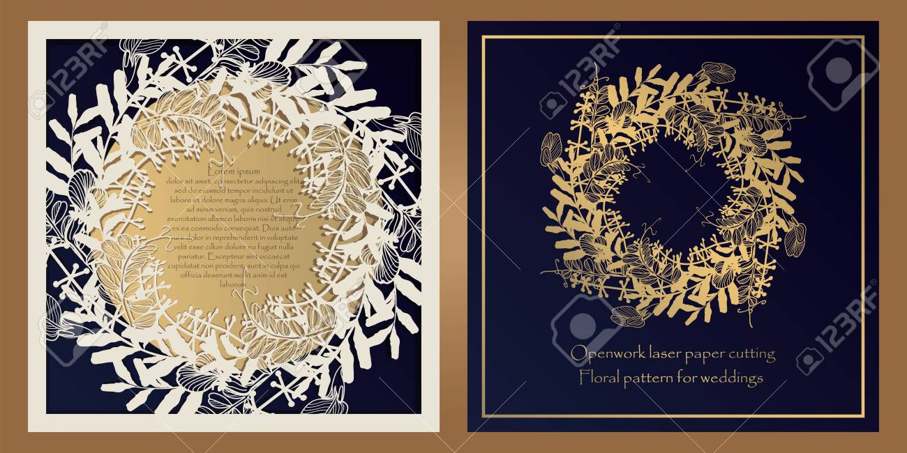 Envelope design, invitations for laser paper cutting. Square pocket with a floral pattern, an openwork frame and a gold-embossed card for wedding, festive, greeting polygraphy. - 123177191