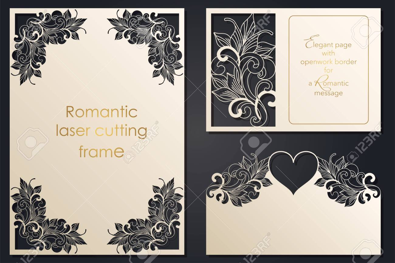 Set paper lace greeting card, wedding invitation, white pattern, cut-out template, template congratulation, perforation pattern, laser cutting template, vector - 142164954