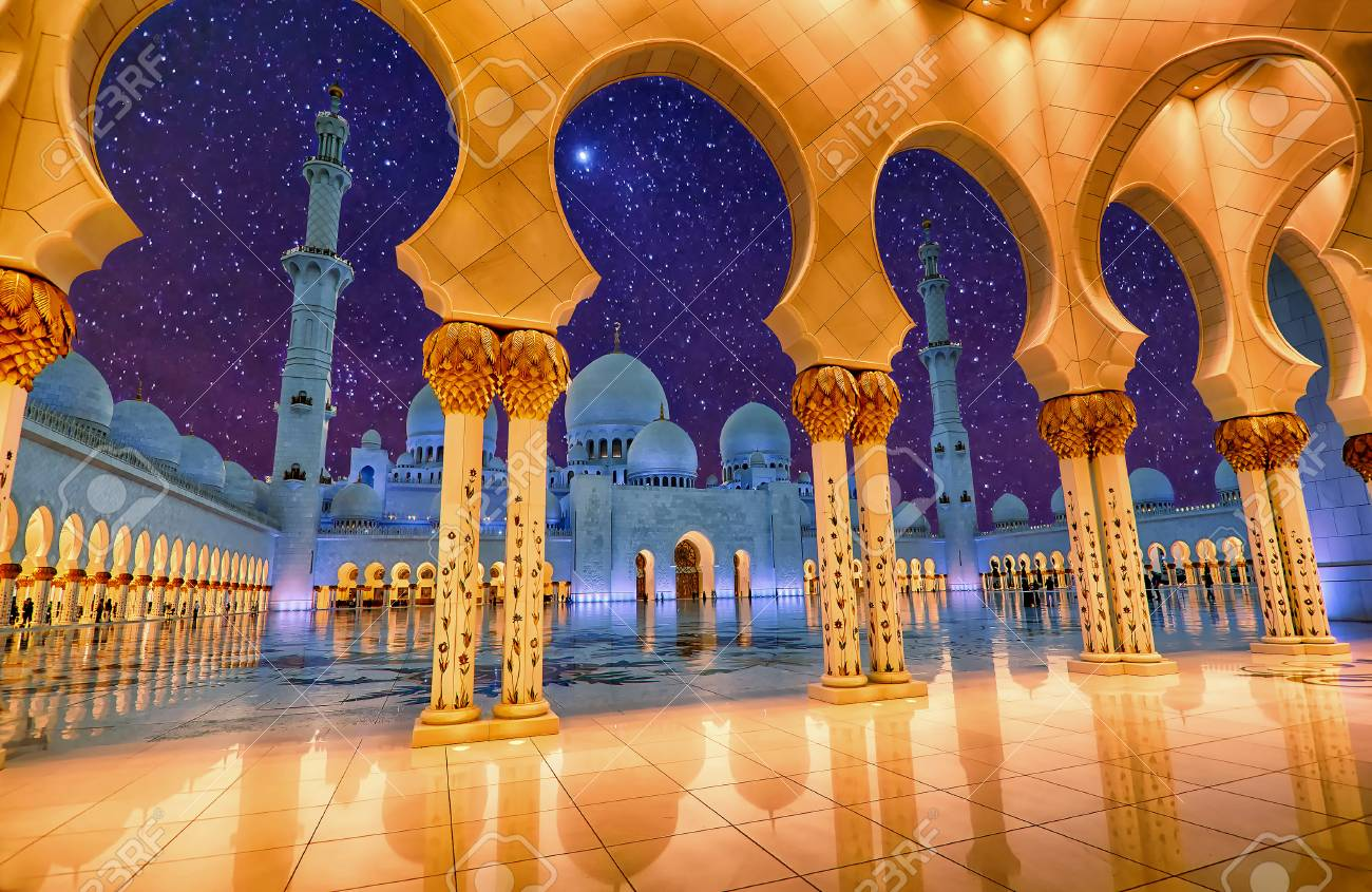 Sheikh Zayed Grand Mosque In Abu Dhabi Uae At Night Stock Photo