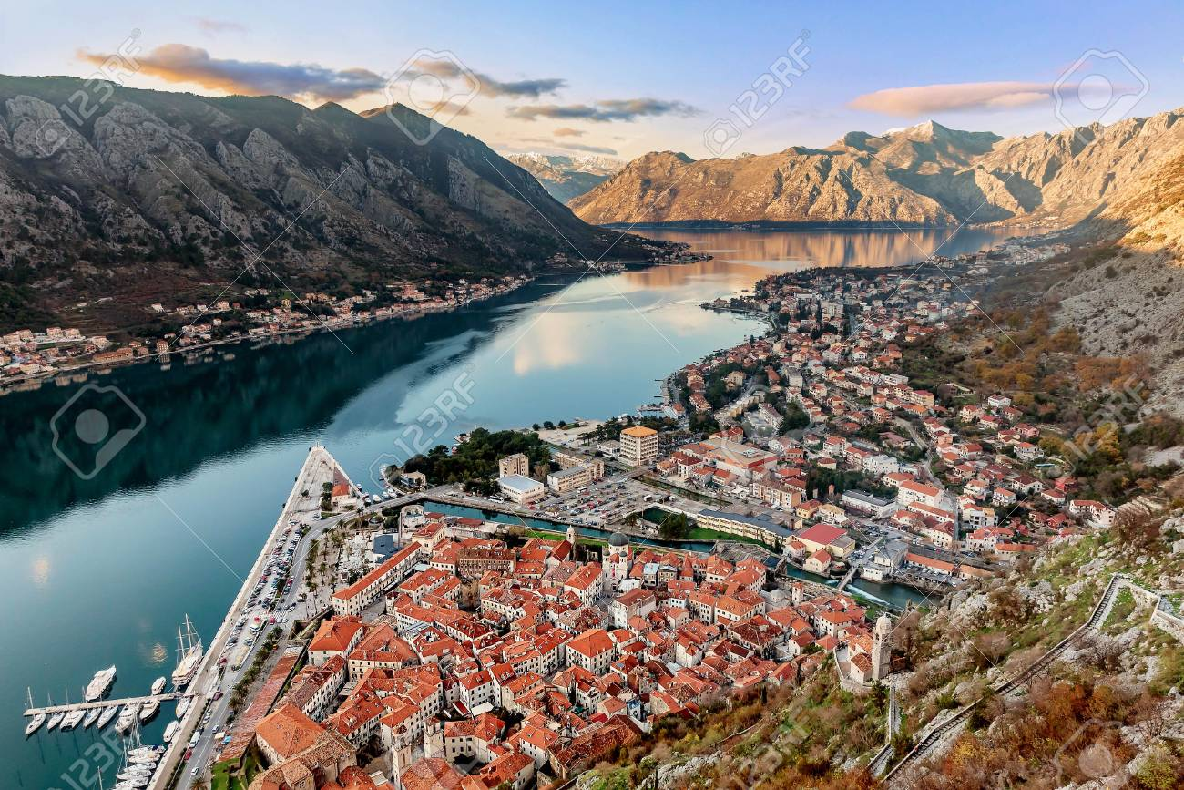 Aerial View Of The Old Town Of Kotor Montenegro Stock Photo 93055043