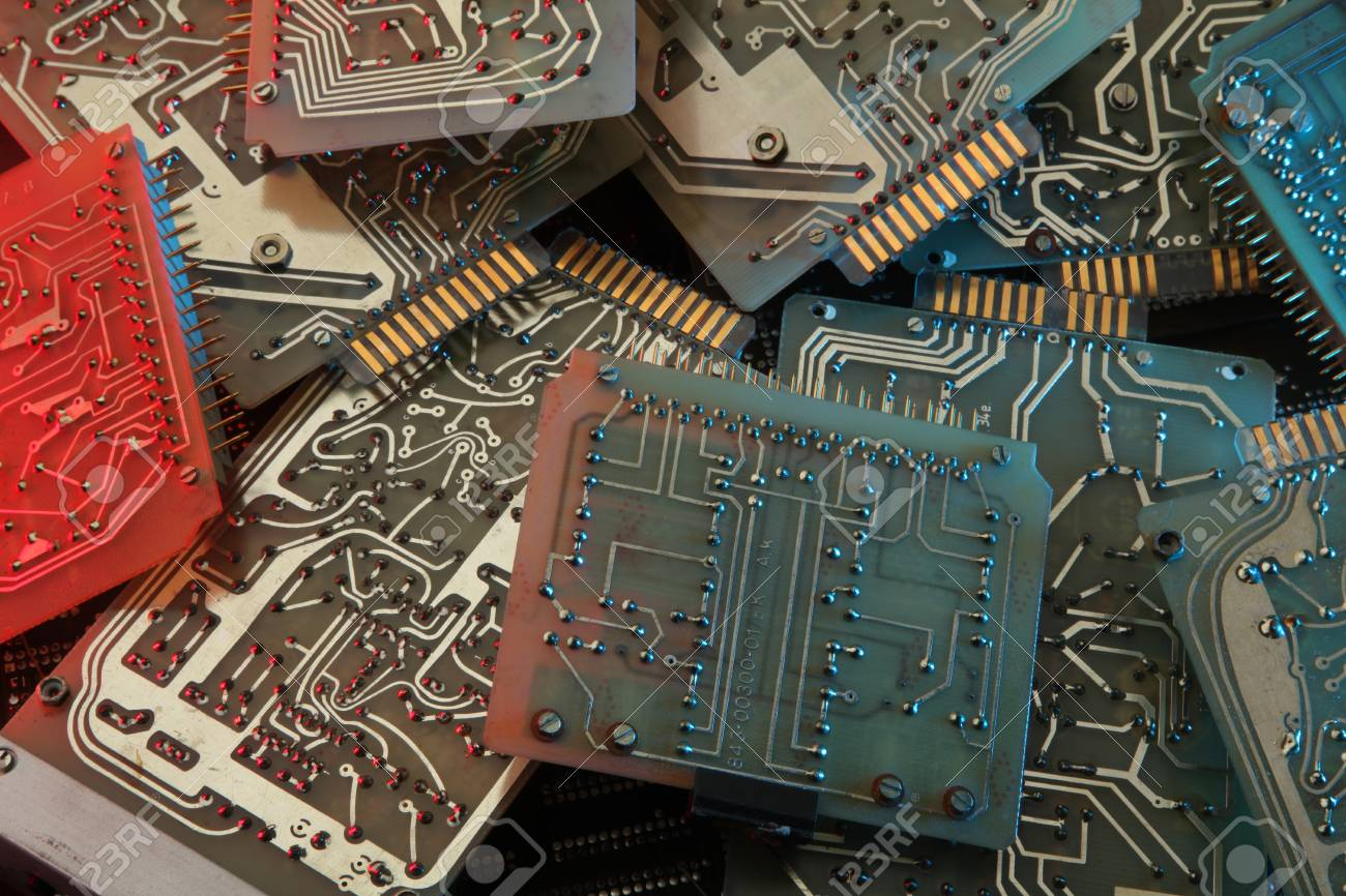 Dirty Old Printed Circuit Board With Computer Chips Stock Photo Electronic Royalty Free Image 75729455