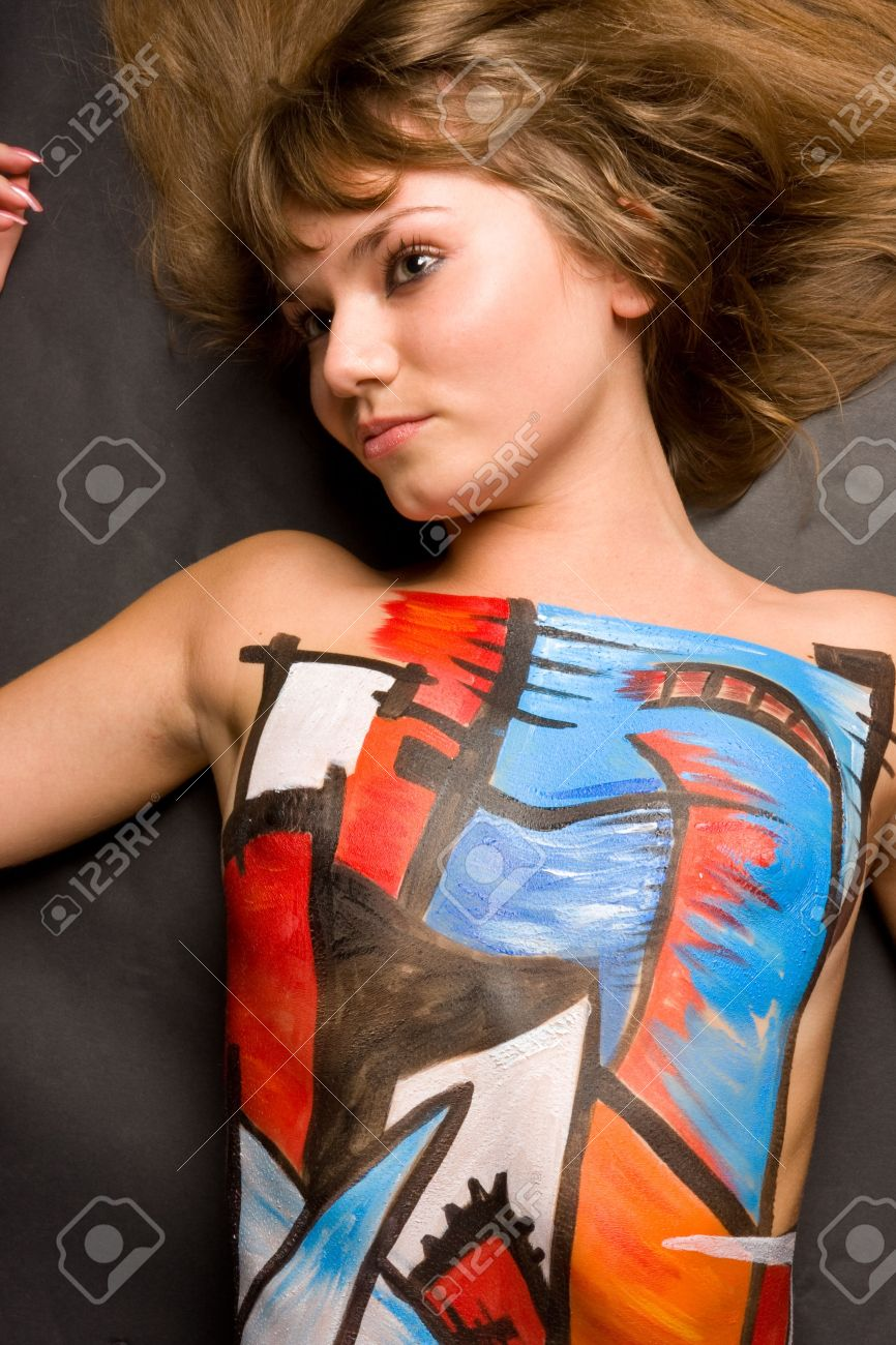 A Set Of Photos Of Young Slim Women With Body Art Painting