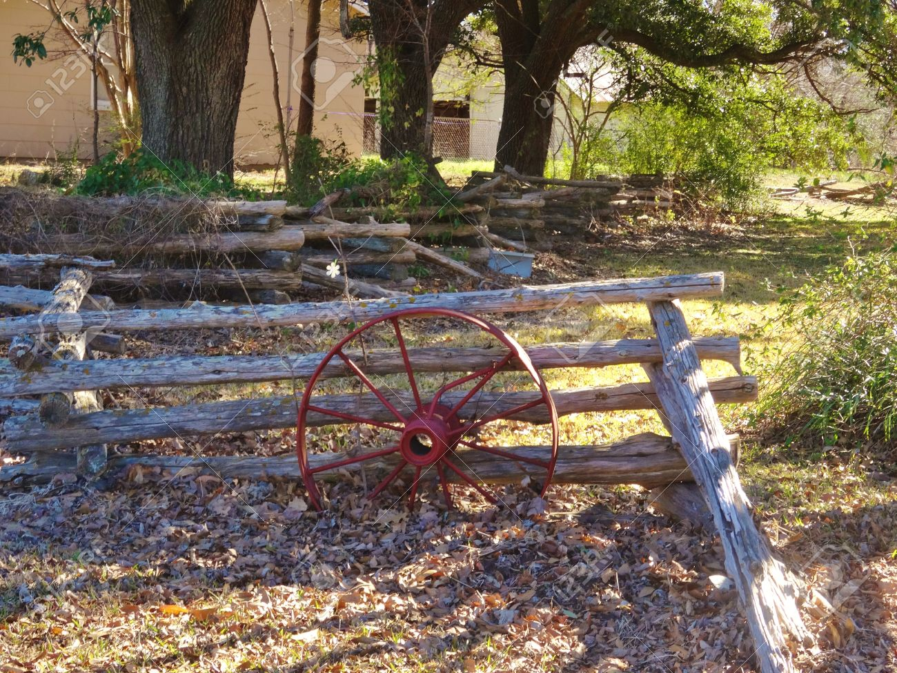 Old Time Log Fence Decorated With A Wagon Wheel Stock Photo Picture And Royalty Free Image Image 36208102