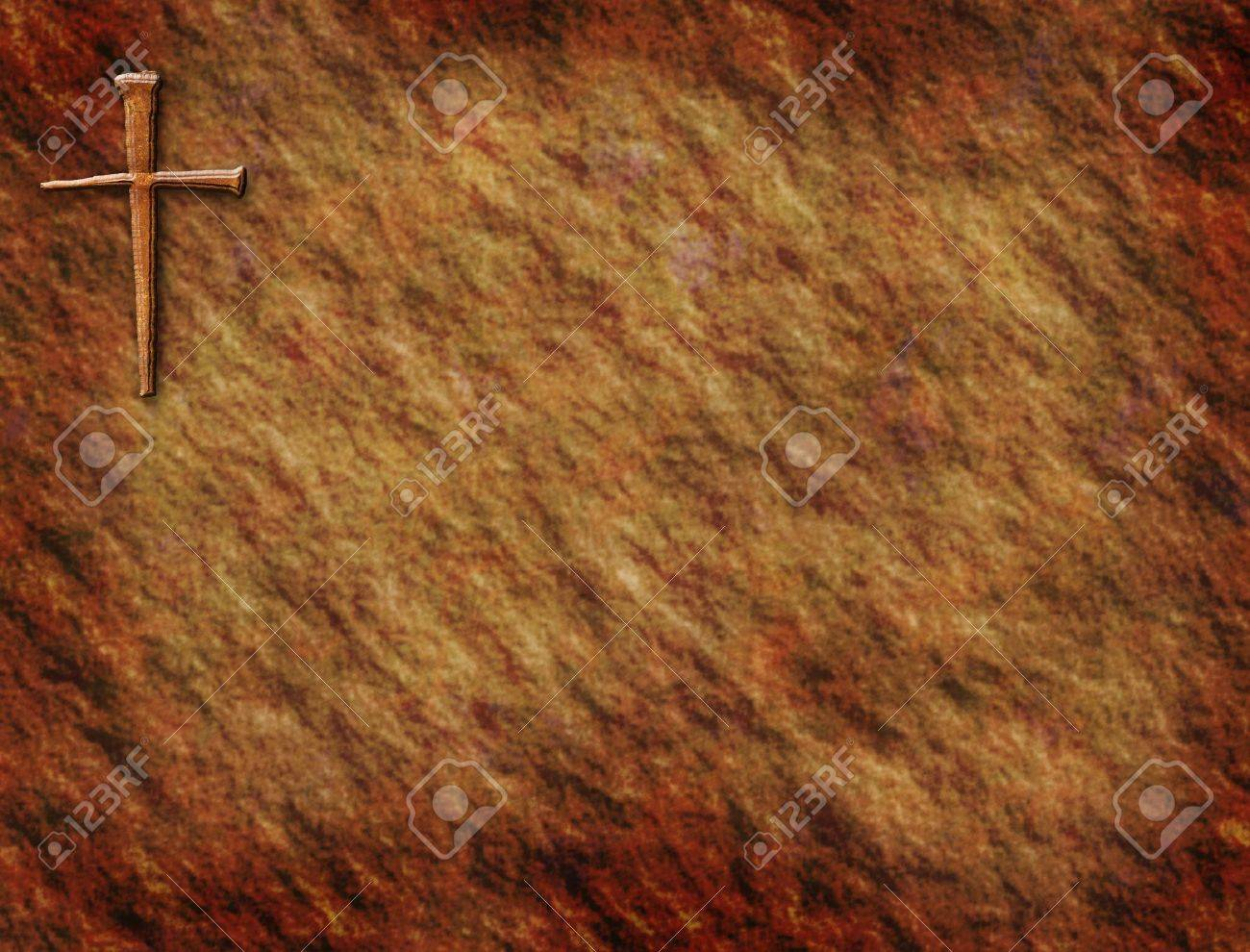 Rustic background with cross in corner Stock Photo - 4460332