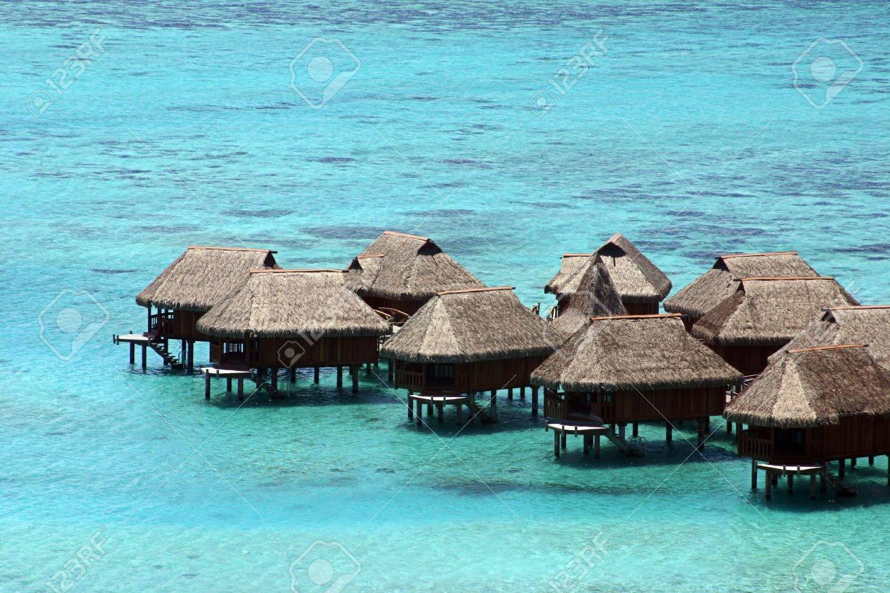 Huts over the water in Tahiti Stock Photo - 2378258