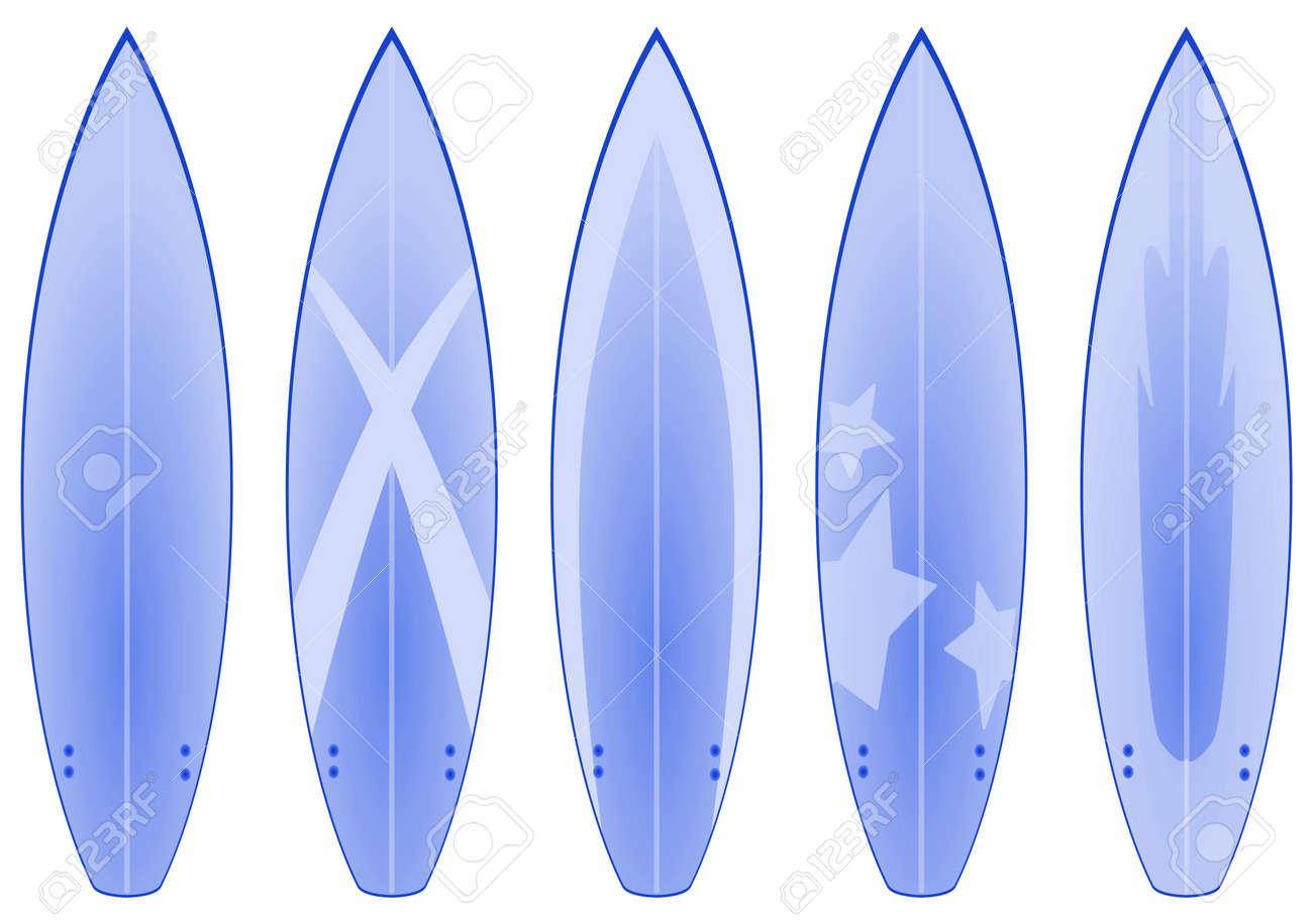 banque dimages un ensemble de 5 dessins planche de surf dans les tons bleu