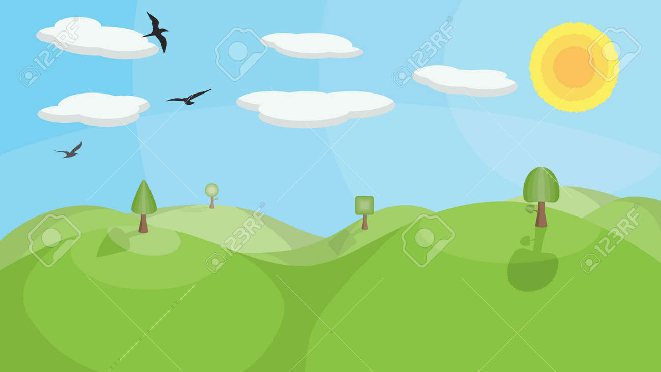 A landscape with mountains, trees, birds and clouds. No transparencies or gradients used. Stock Vector - 7209064
