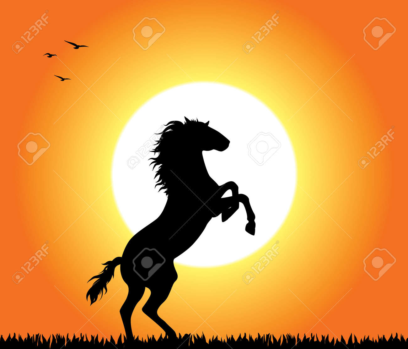 A horse rearing at sunset. Editable vector illustration. Stock Vector - 8488816