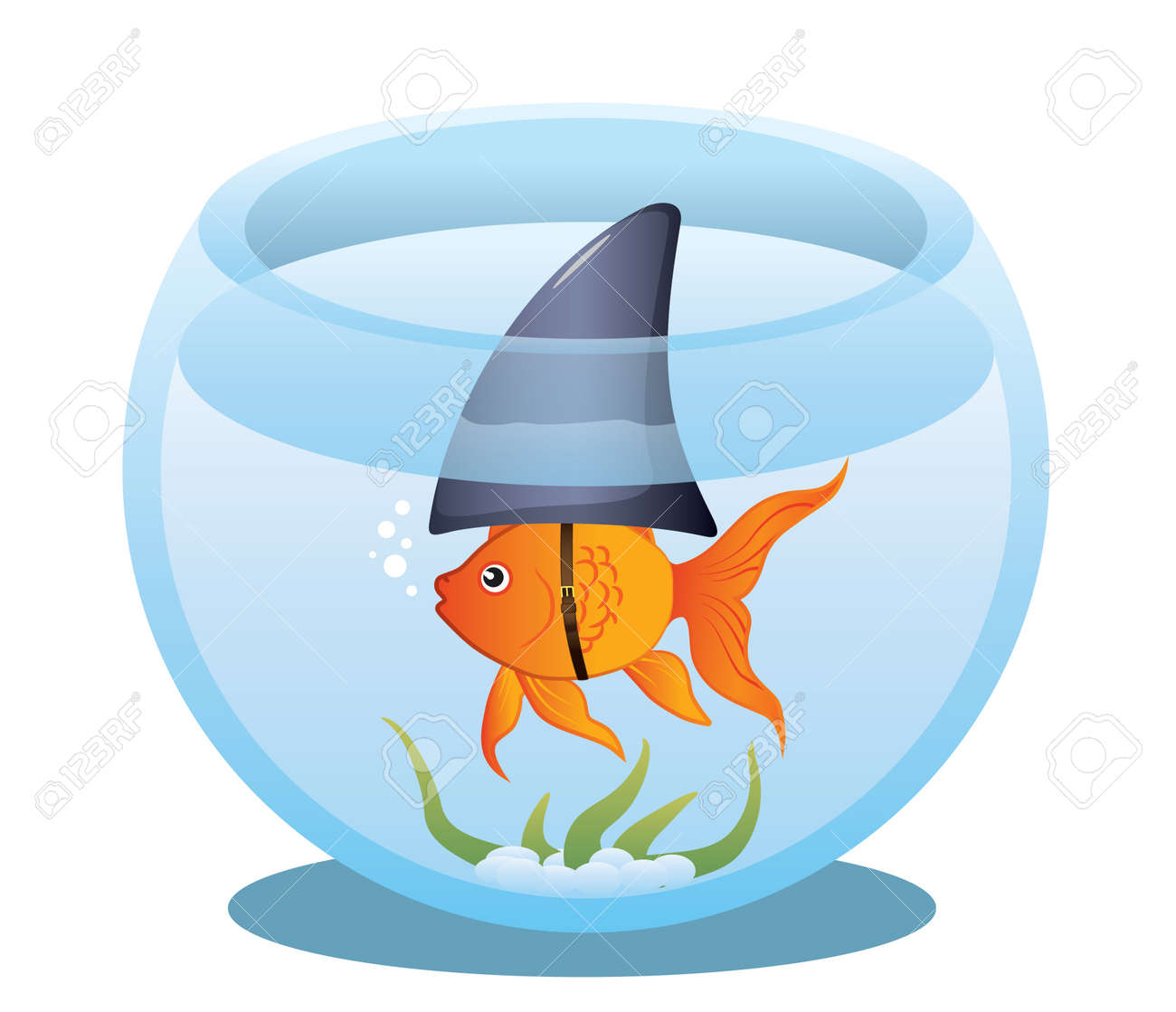 A cute little goldfish in a fish bowl wearing a shark fin to scare predators away. Stock Vector - 8598770