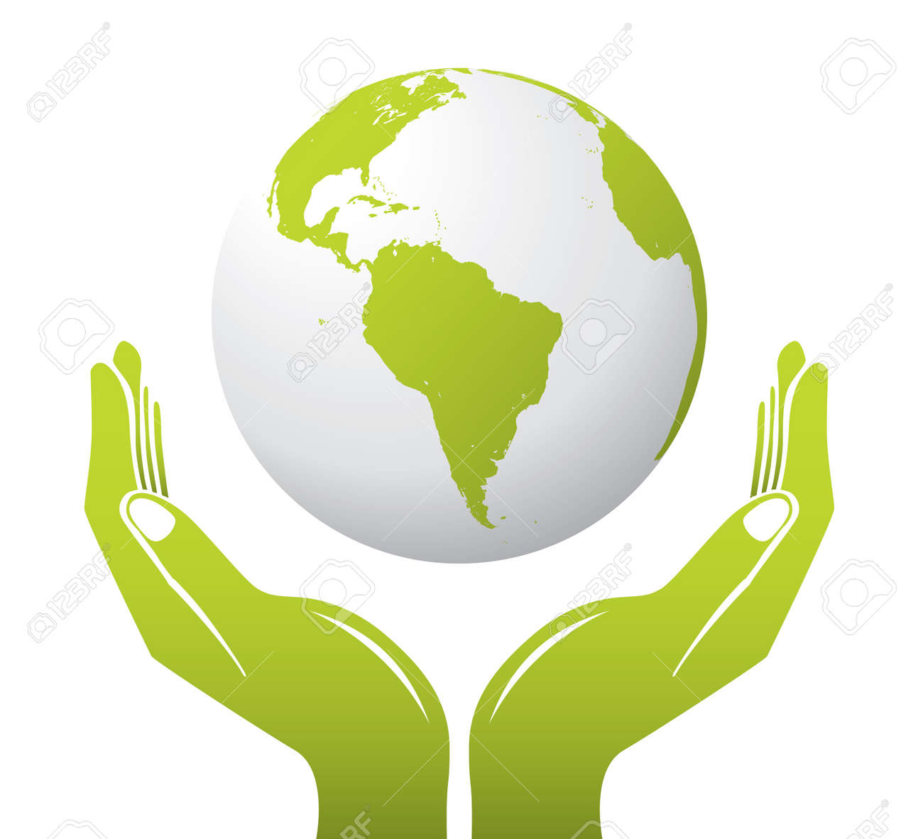 a globe with hands royalty free cliparts vectors and stock rh 123rf com Cupped Hands Vector Reaching Hands Vector