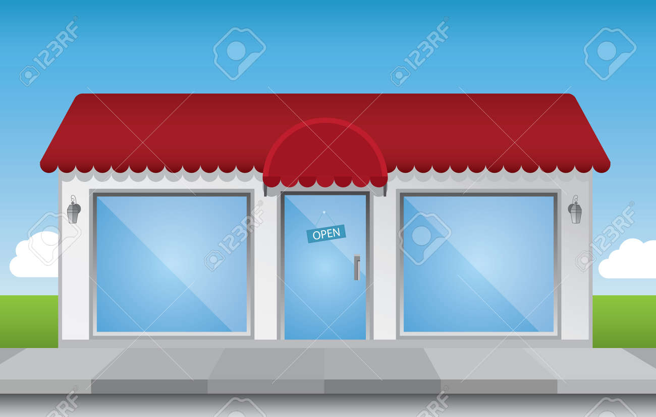 Shop front illustration, with shiny elements (no transparencies) and a bright blue sky Stock Vector - 8854000