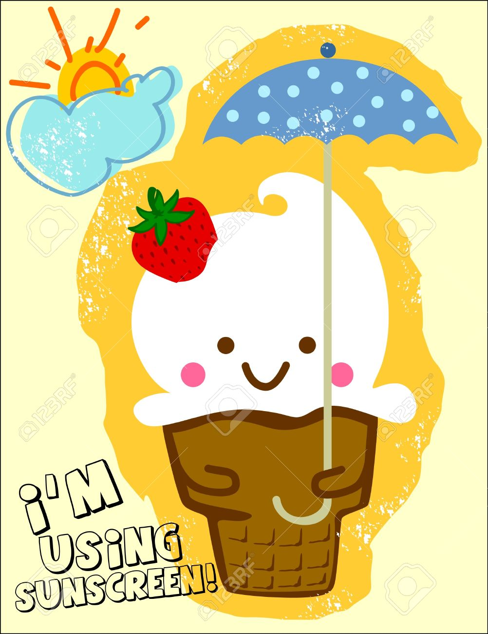 ice cream holding an umbrella on a sunny day Stock Vector - 20118290