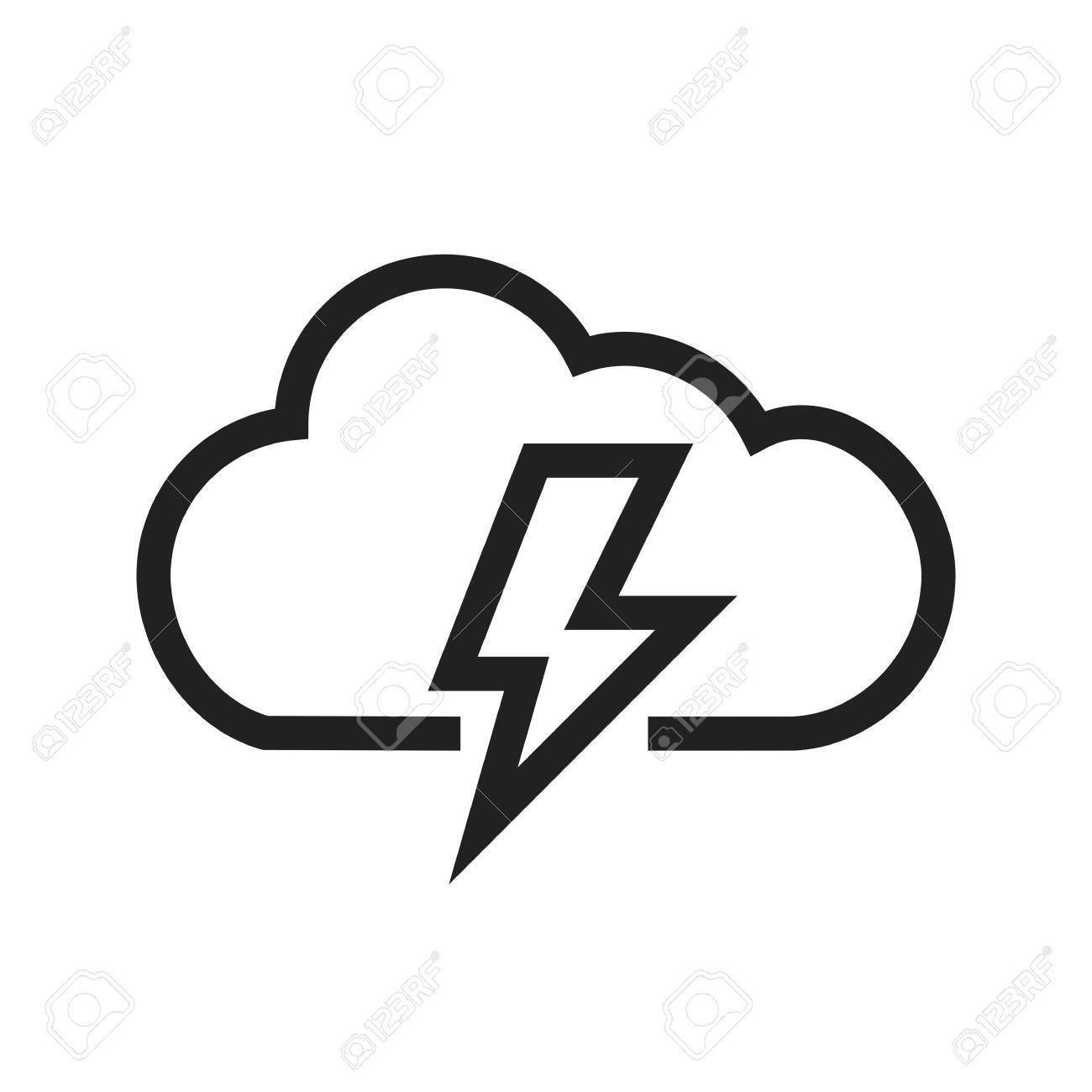 Cloud Thunder Bolt Icon Vector Image Can Also Be Used For Royalty Free Cliparts Vectors And Stock Illustration Image 40141320